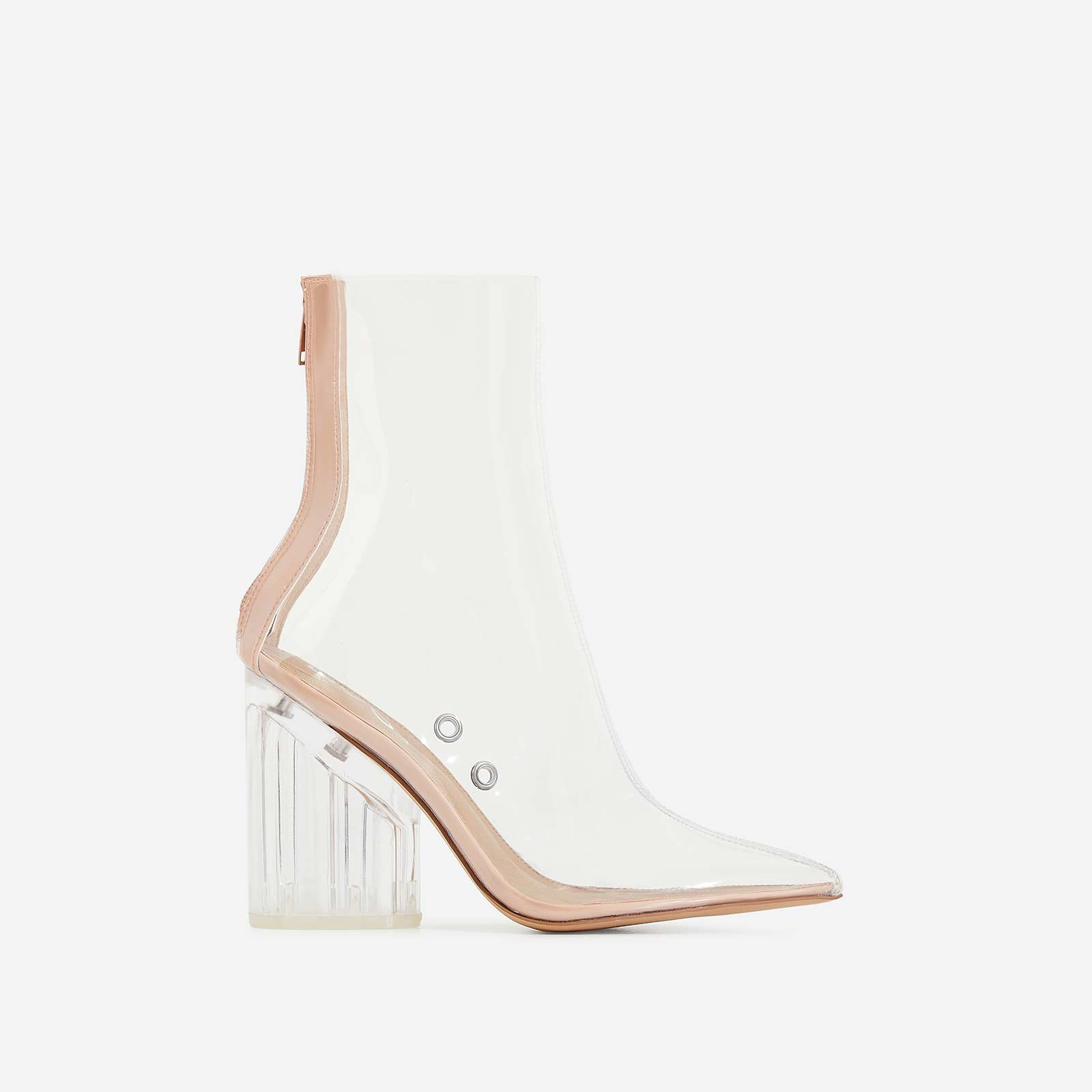 Mimi Perspex Block Heel Pointed Ankle Sock Boot In Clear