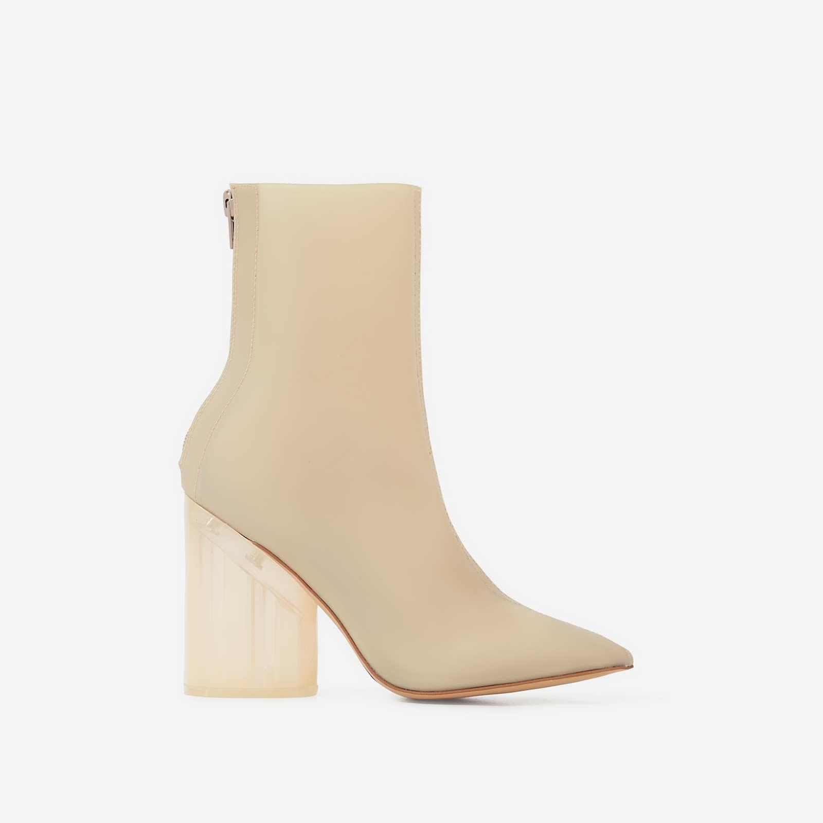 Mimi Perspex Block Heel Pointed Ankle Sock Boot In Matt Nude