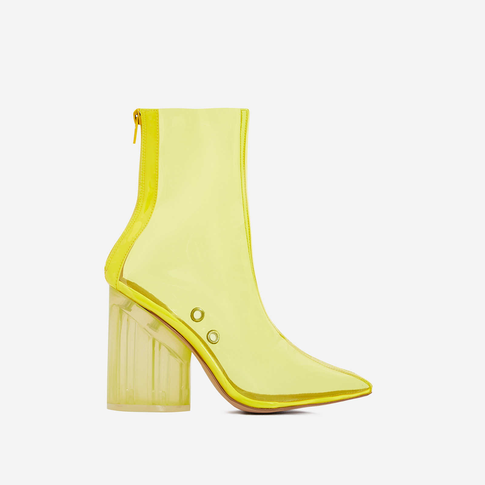 Mimi Perspex Block Heel Pointed Ankle Sock Boot In Neon Yellow