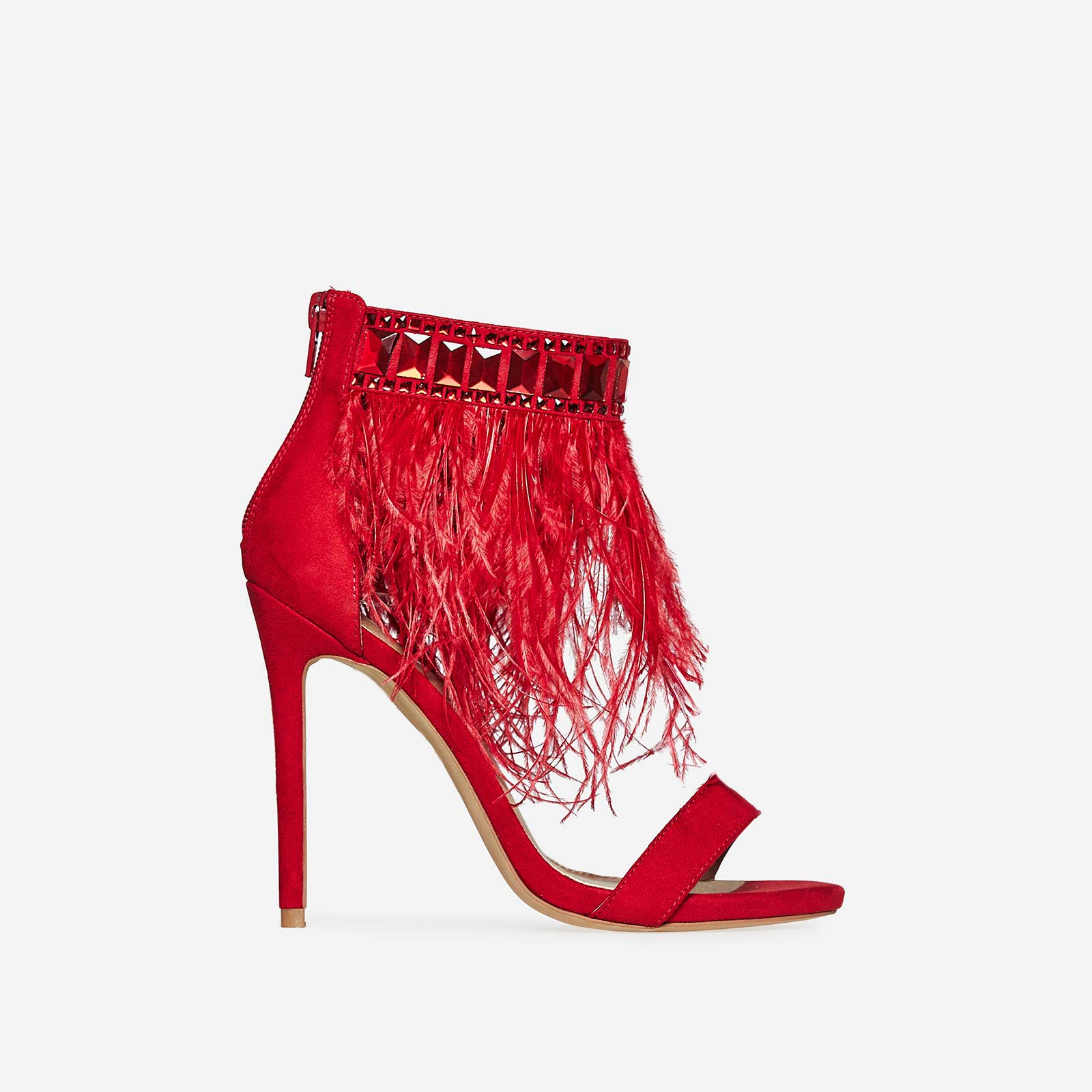 Mitchie Faux Feather Barely There Heel In Red Faux Suede