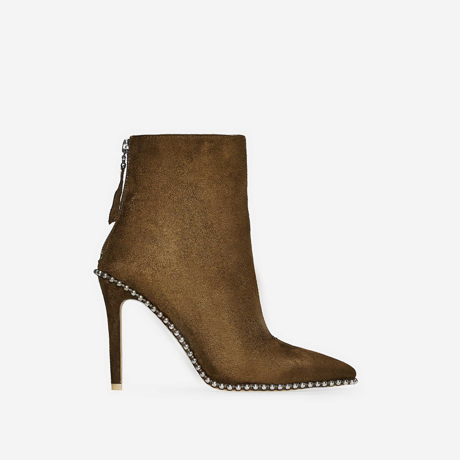 Montana Studded Detail Ankle Boot In Khaki Faux Suede