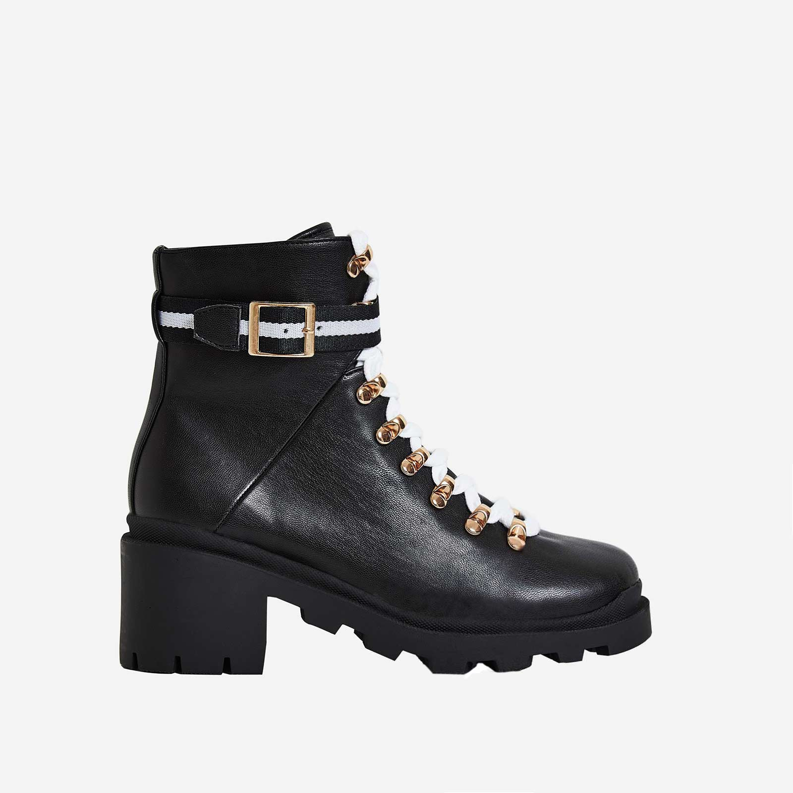 Mosley White Lace Up Block Heel Ankle Bike Boot In Black Faux Leather