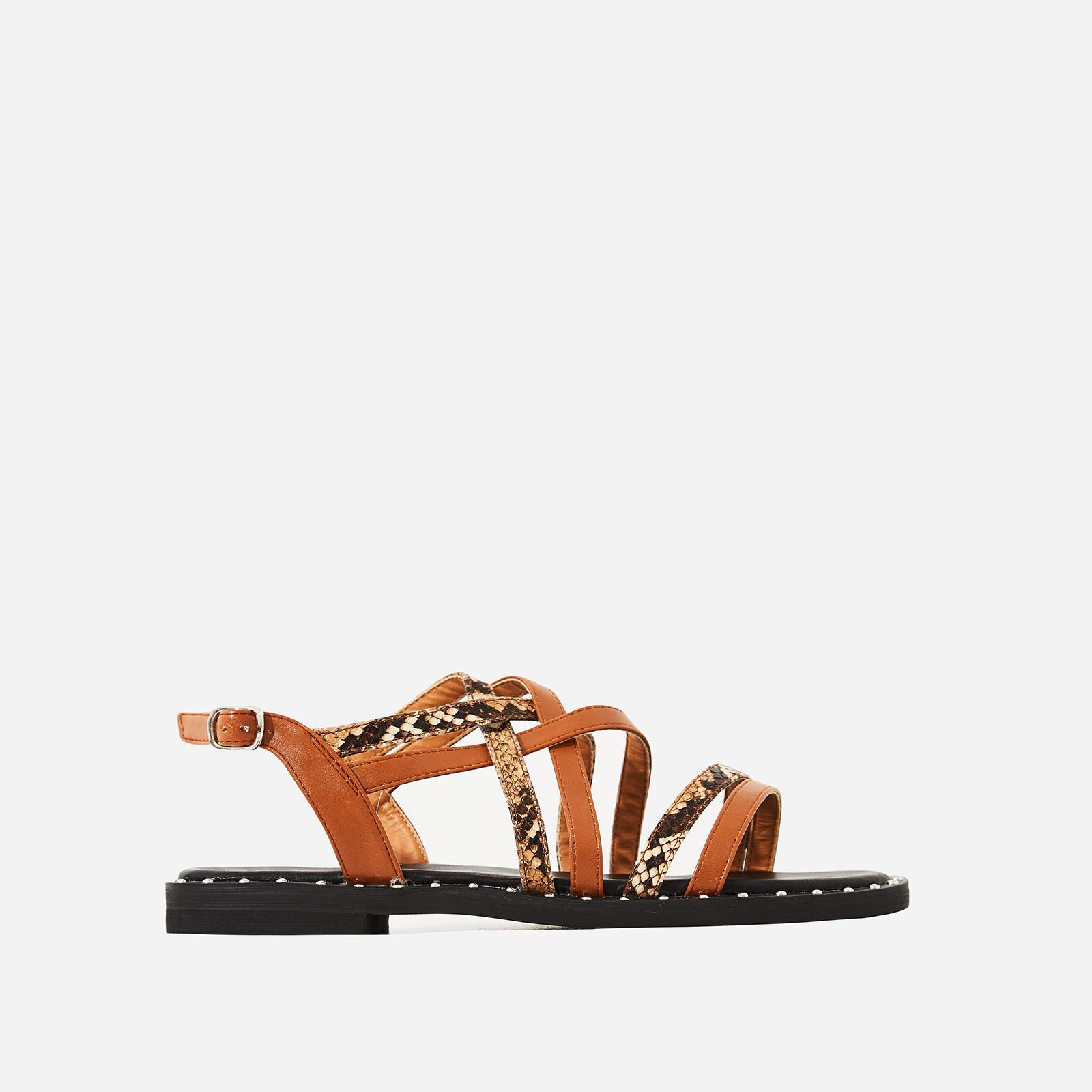 Regan Snake Print Detail Gladiator Sandal In Tan Faux Leather