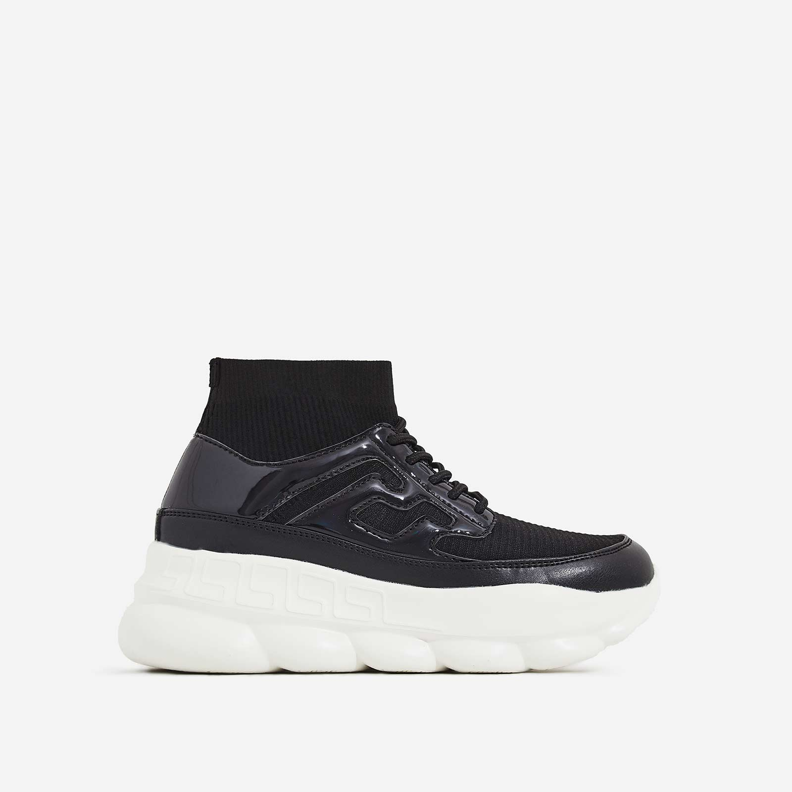 Music Chunky Sole Sock Trainer In Black Knit