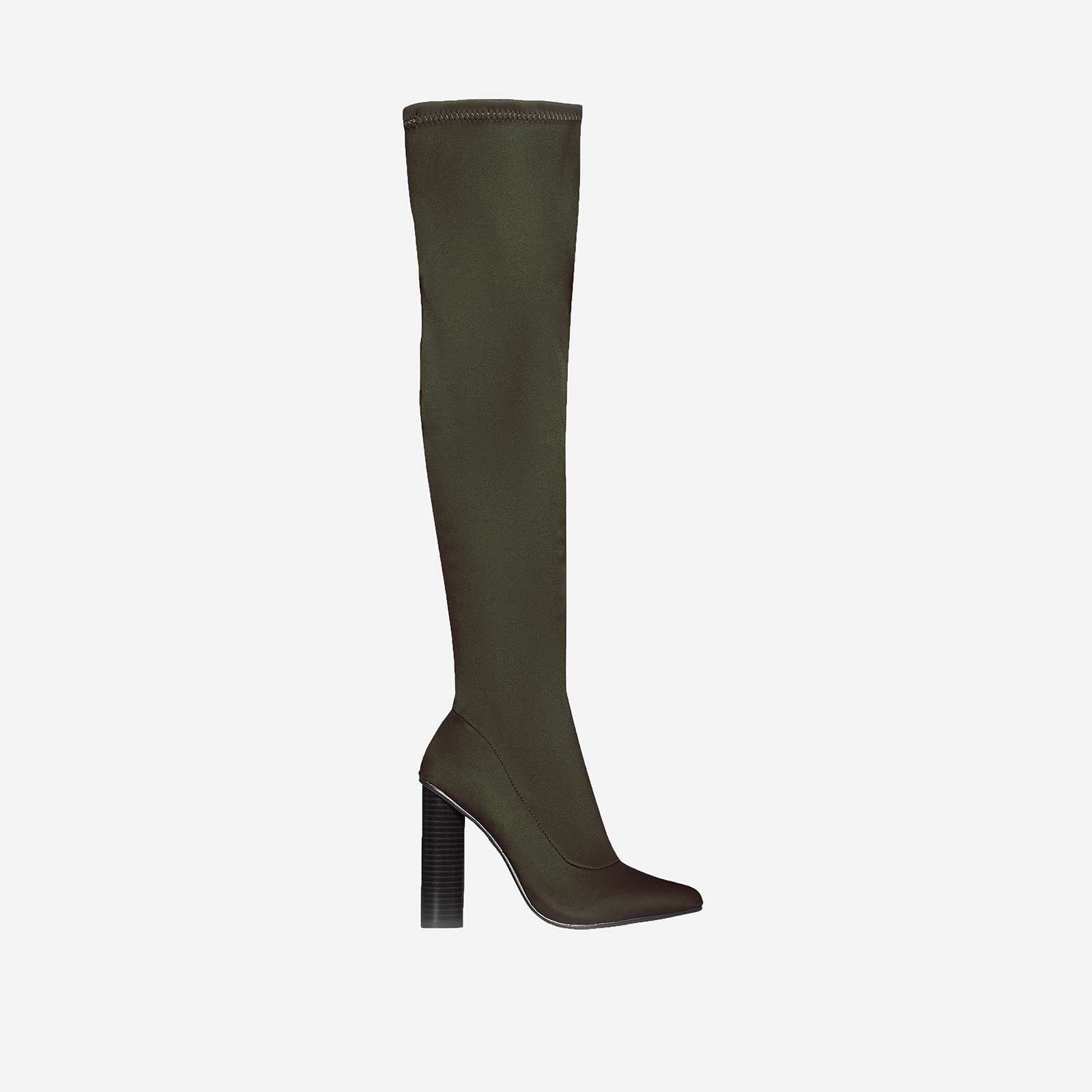 Anja Over The Knee Long Boot In Green Lycra