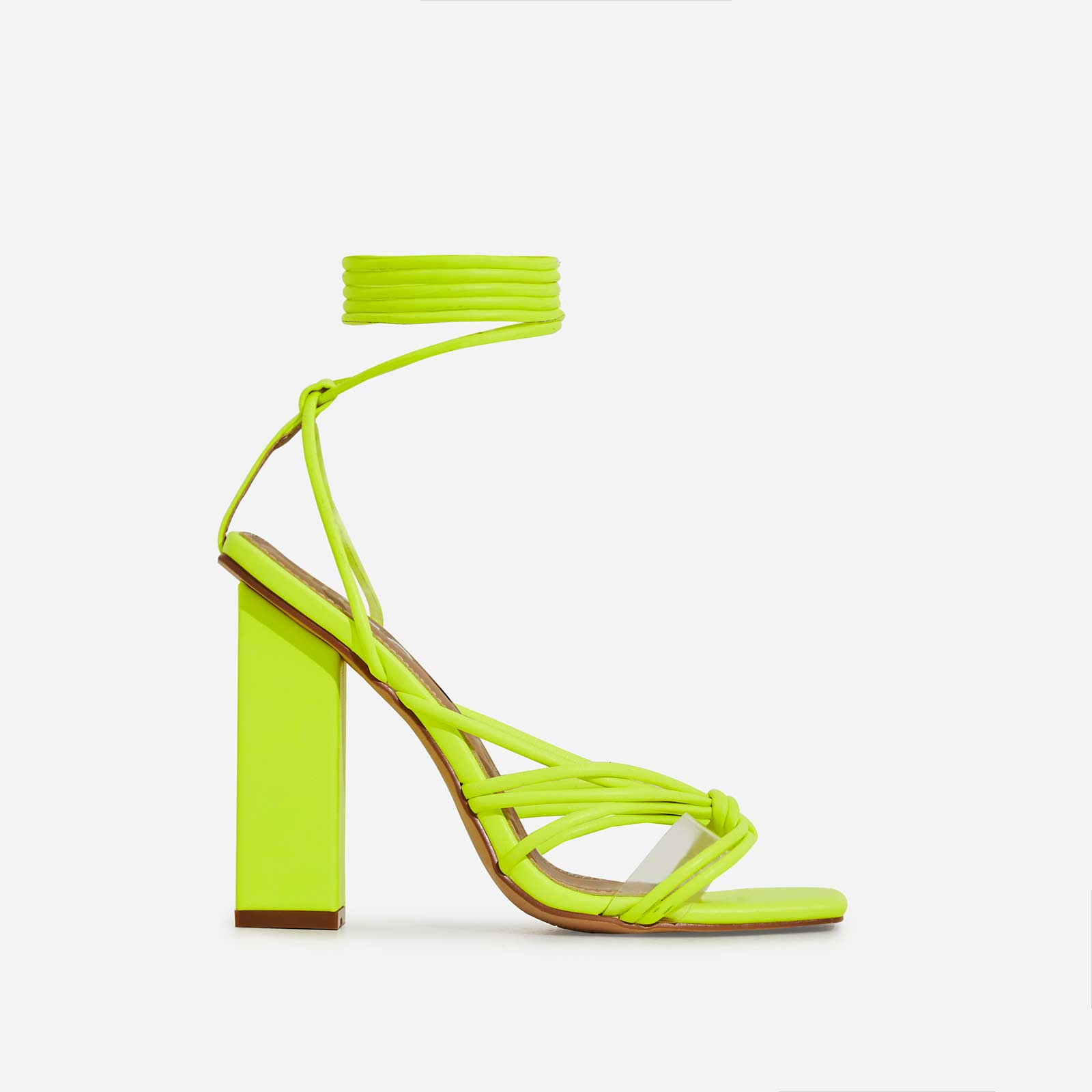Neima Lace Up Square Toe Clear Perspex Block Heel In Lime Green Faux Leather