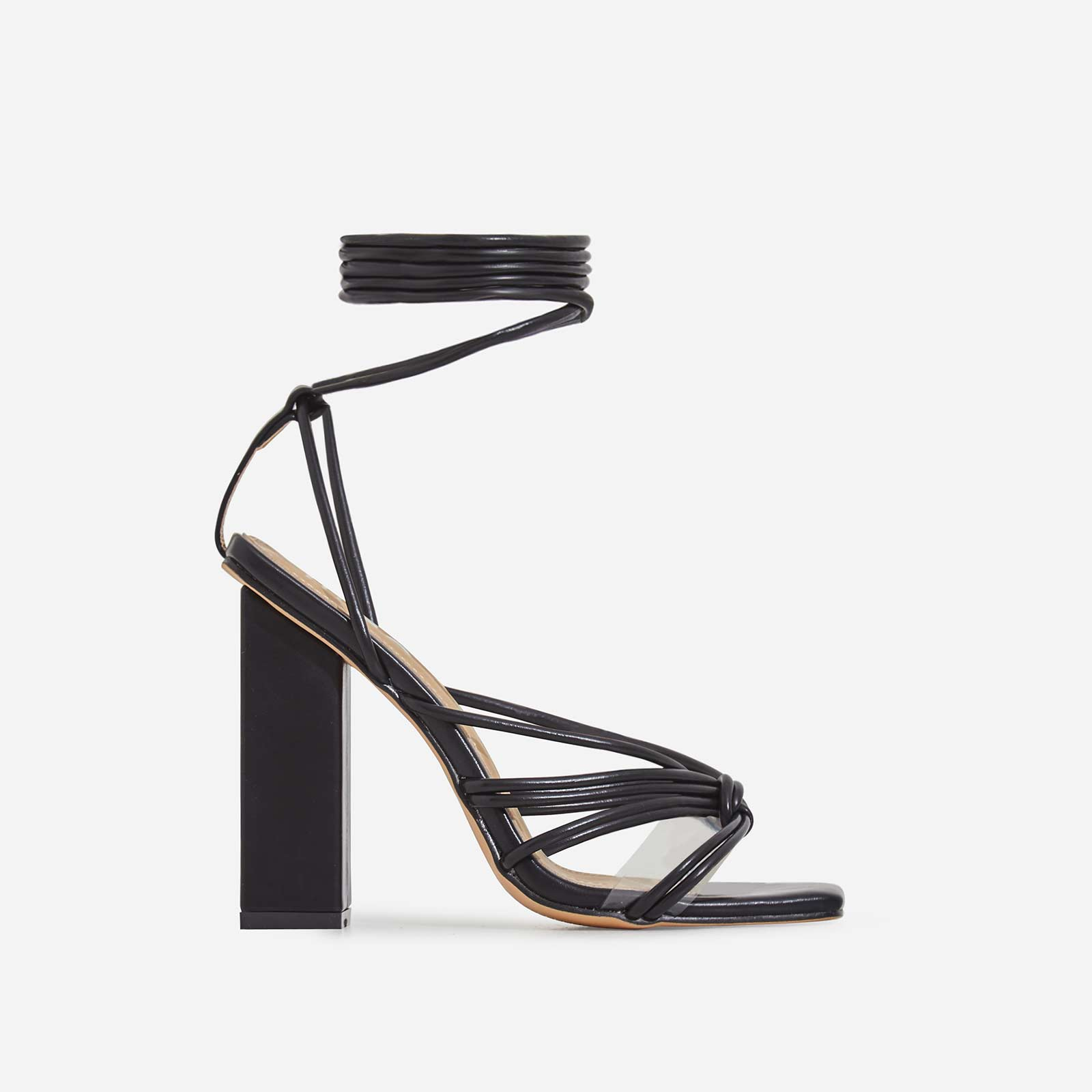 Neima Lace Up Square Toe Perspex Block Heel In Black Faux Leather