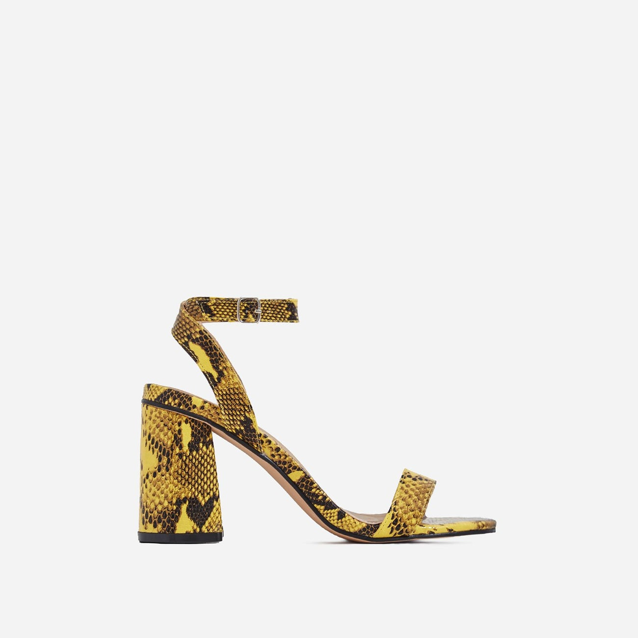 Nikita Midi Block Heel In Yellow Snake Print Faux Leather