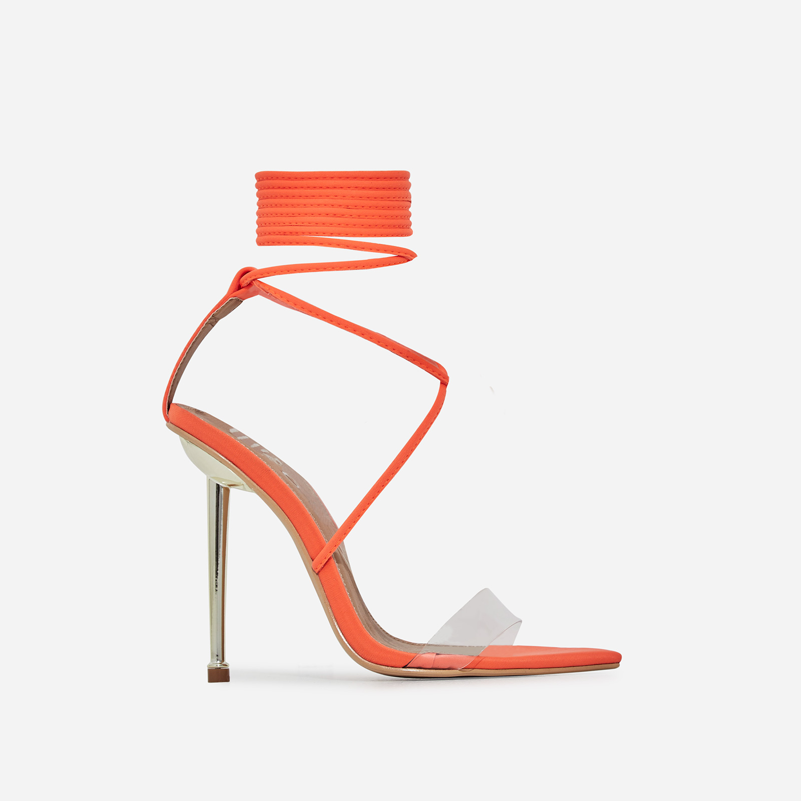 Nobu Pointed Toe Perspex Lace Up Heel In Orange Lycra