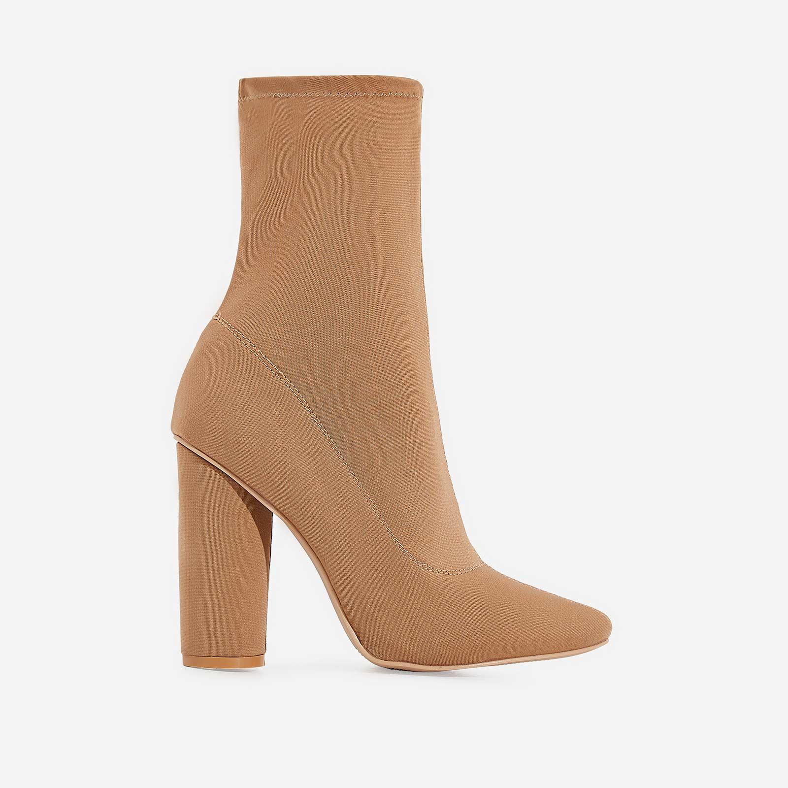 Noelle Block Heel Ankle Boot In Nude Lycra