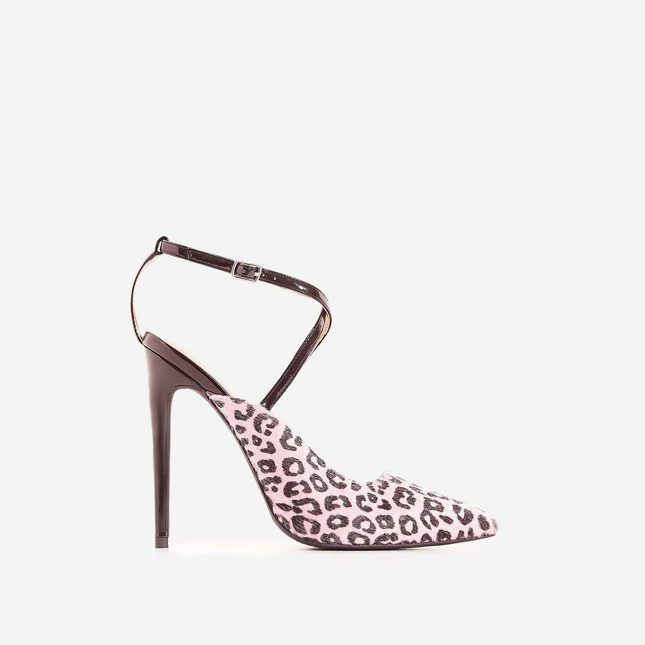 Nori Pink Leopard Print Poly Hair Heel In Black Patent