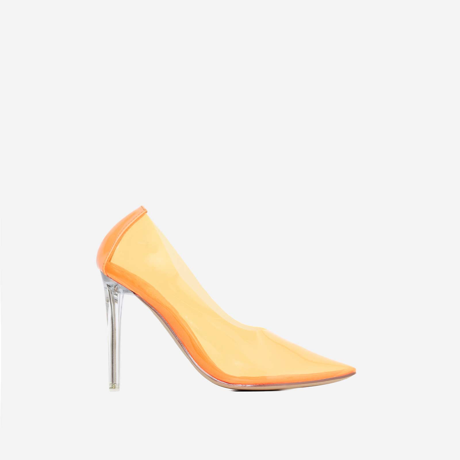 Nuclear Perspex Court Heel In Orange