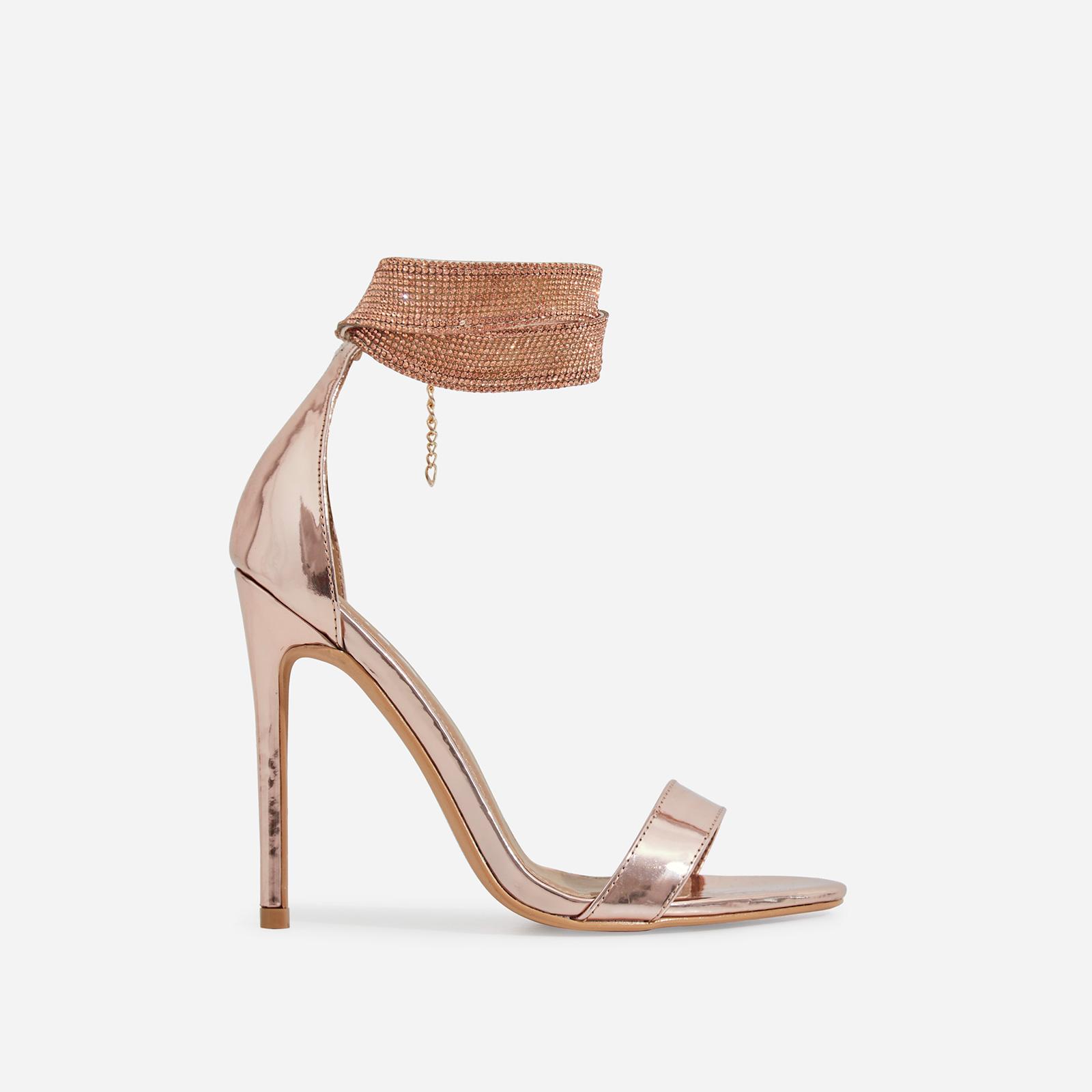 Nuri Diamante Detail Strap Heel In Rose Gold Patent