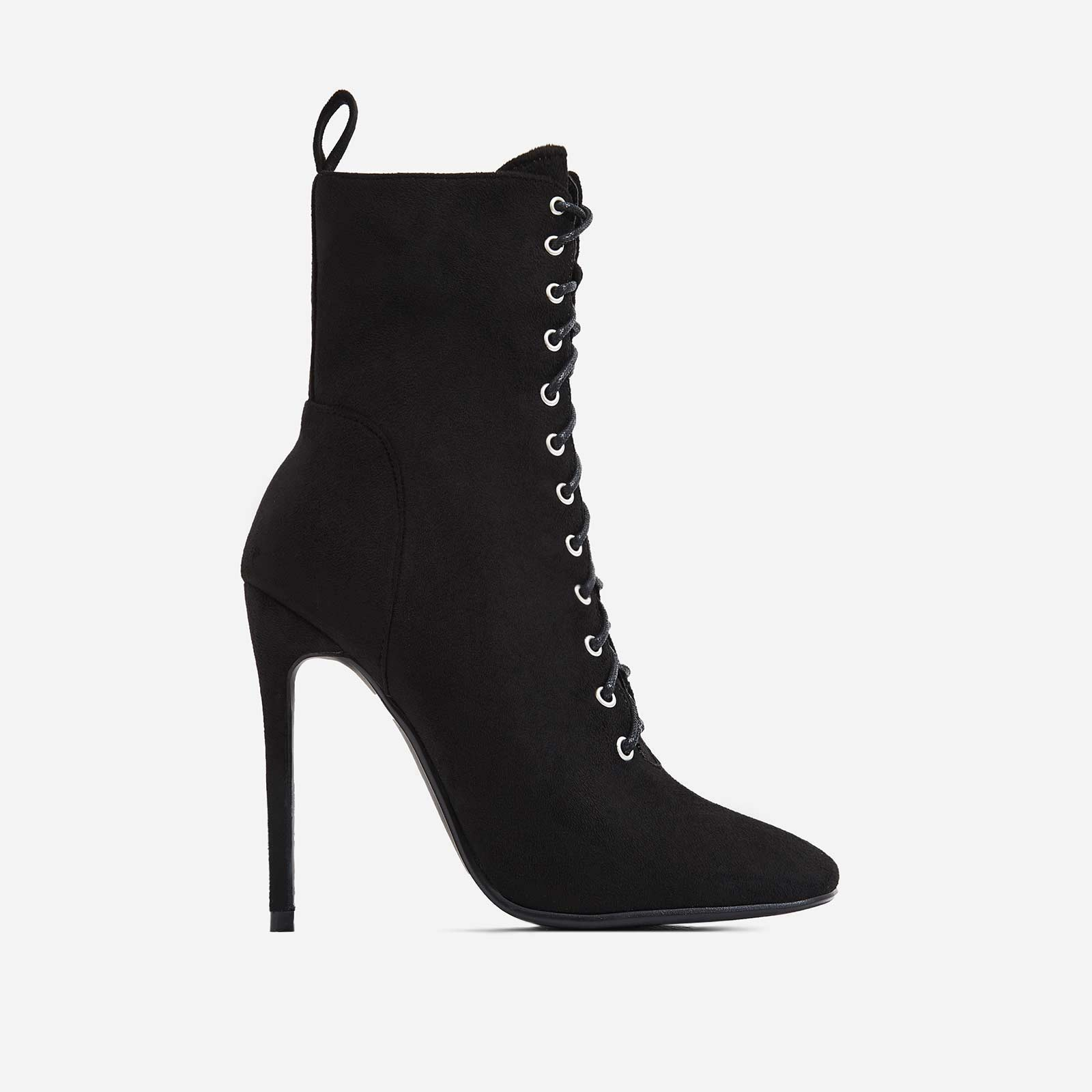 Onya Square Toe Lace Up Ankle Boot In Black Faux Suede