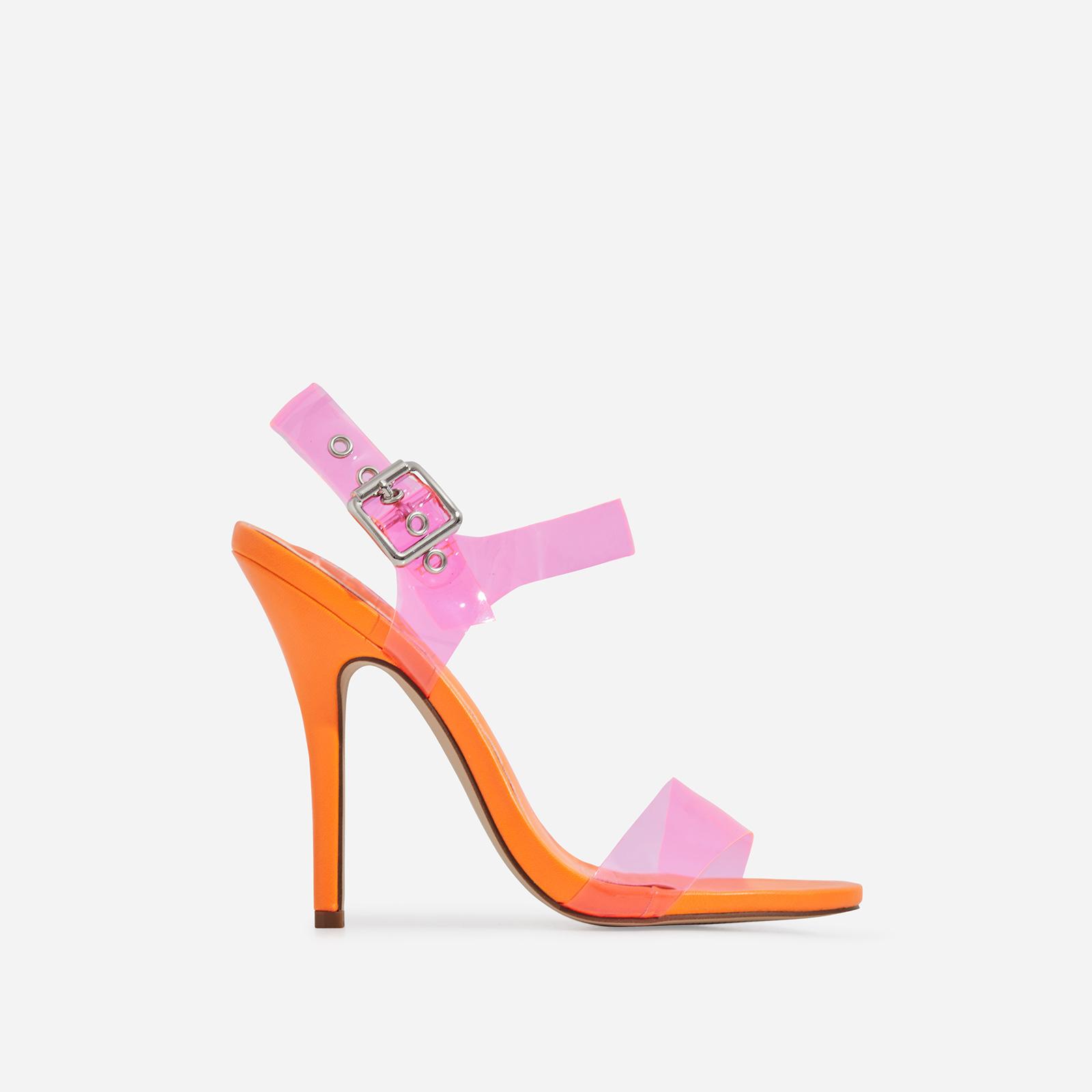 Opal Pink Perspex Heel In Orange Faux Leather