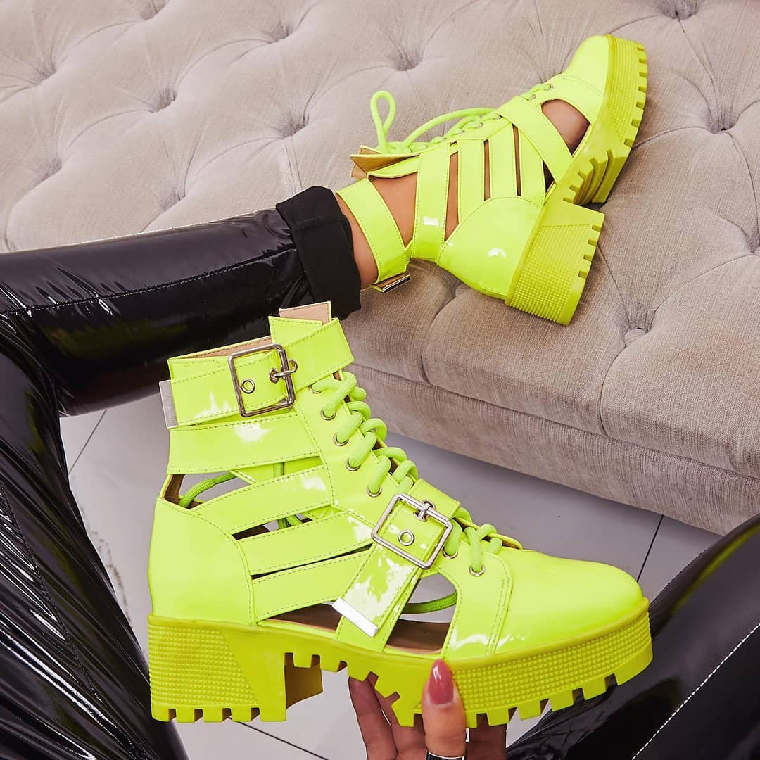 Page Chunky Sole Lace Up Cut Out Ankle Biker Boot In Neon Lime Green Patent