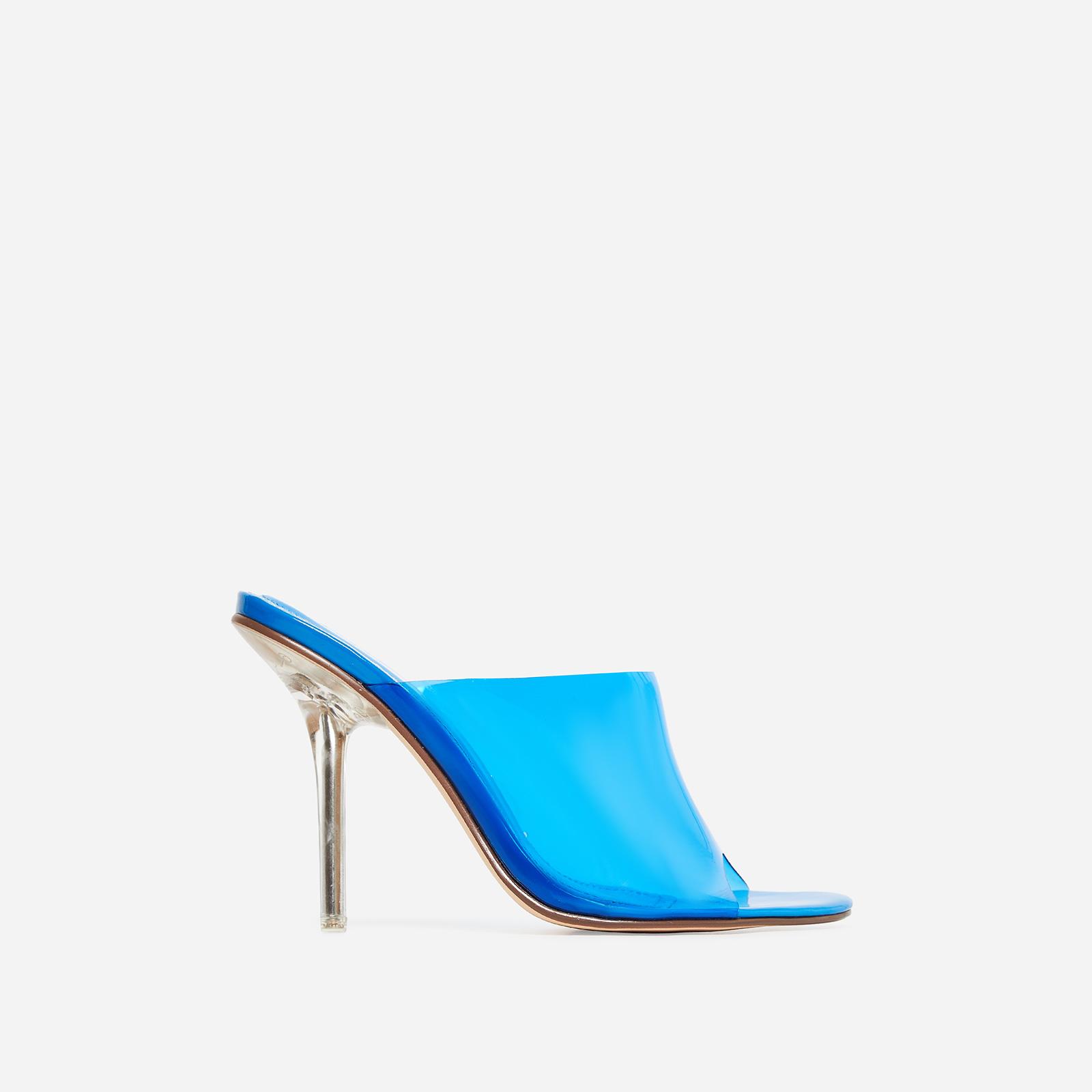 Paint Perspex Peep Toe Mule In Blue Patent