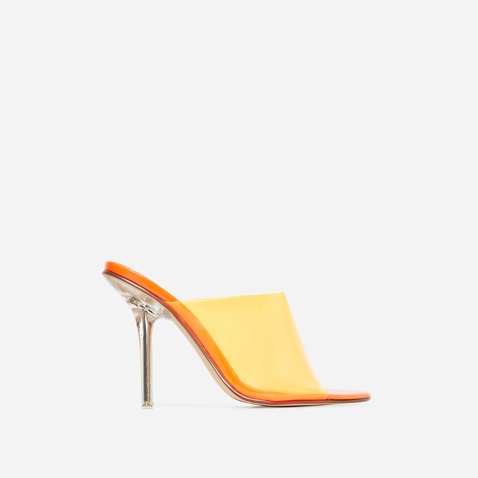 Paint Perspex Peep Toe Mule In Orange Patent