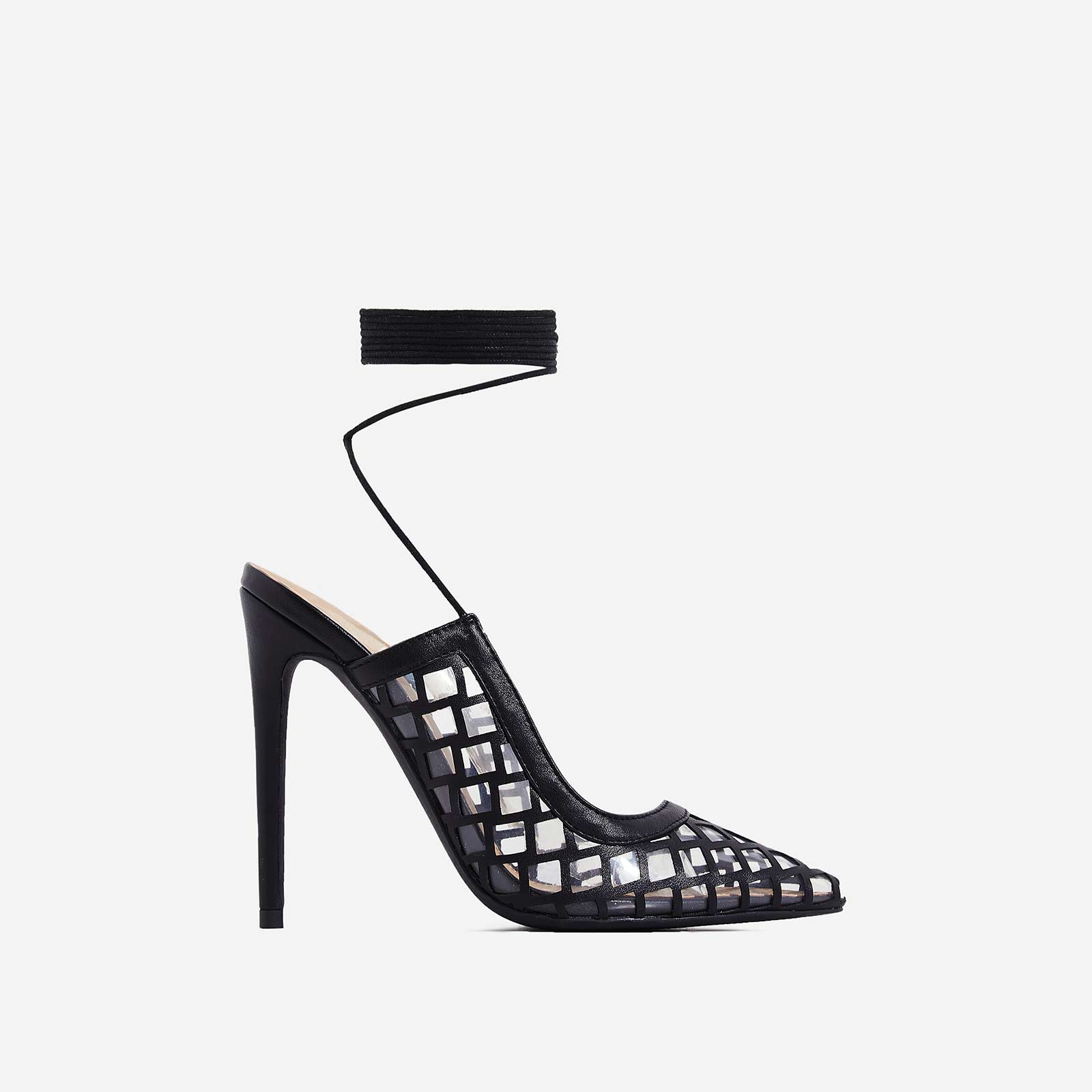 Pasha Lace Up Mesh Heel In Black Faux Leather