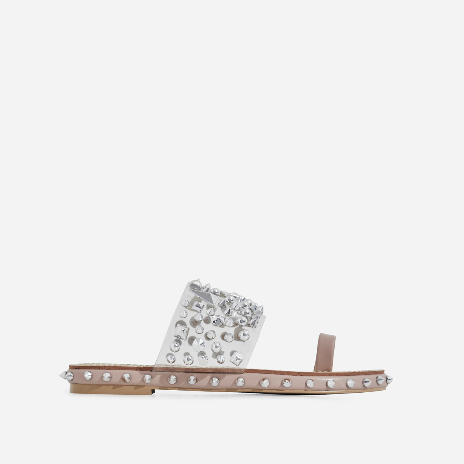 Pedro Studded Detail Toe Strap Perspex Slider In Nude Faux Leather
