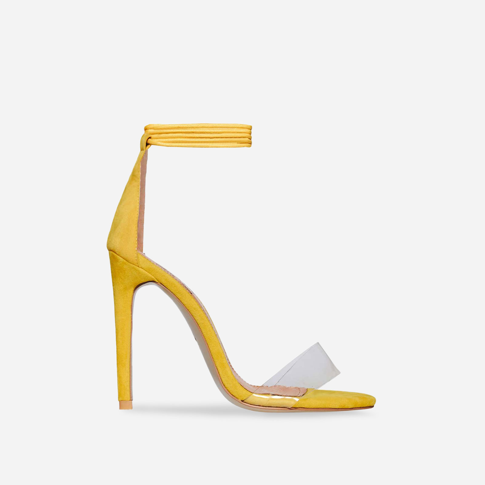Perrie Lace Up Heel In Yellow Faux Suede Image 1