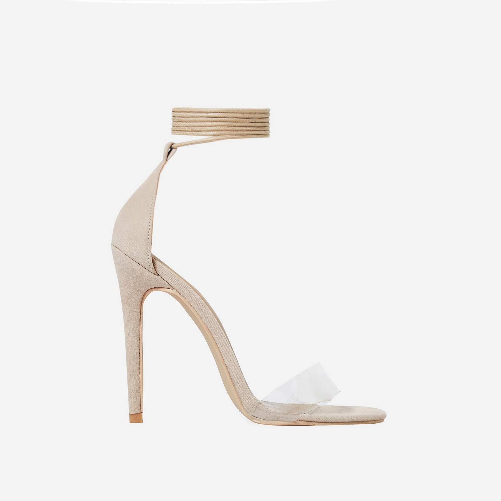 Perrie Lace Up Heel In Nude Faux Suede