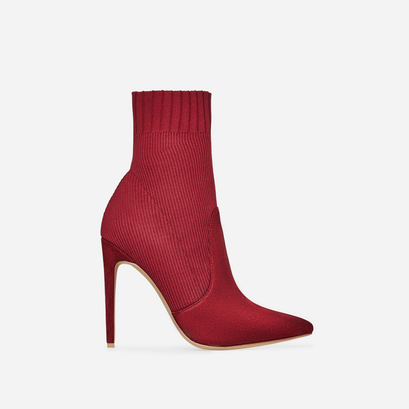 Phoenix Knitted Sock Boot In Burgundy Faux Suede