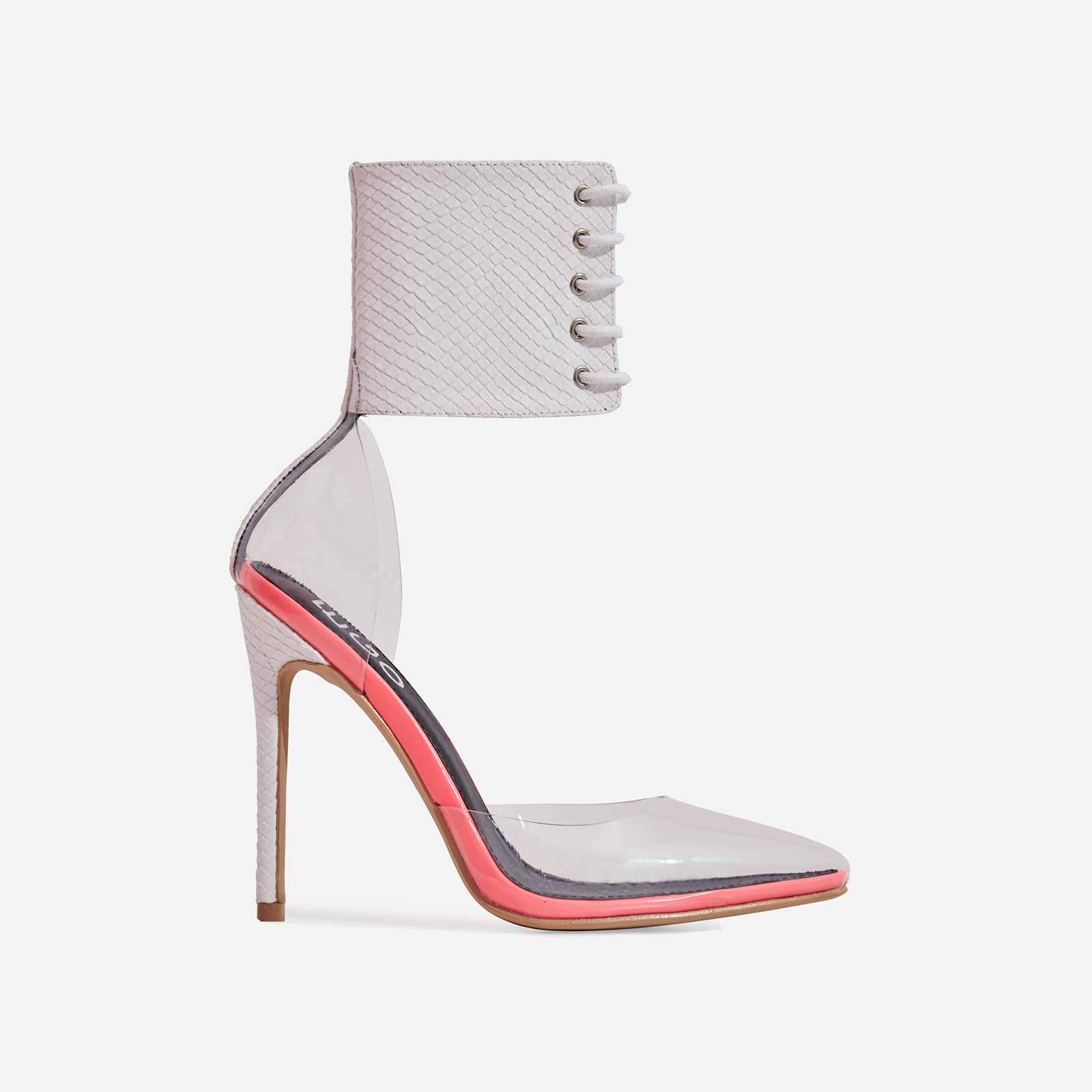 Play Lace Up Perspex Heel In White Snake Print Faux Leather