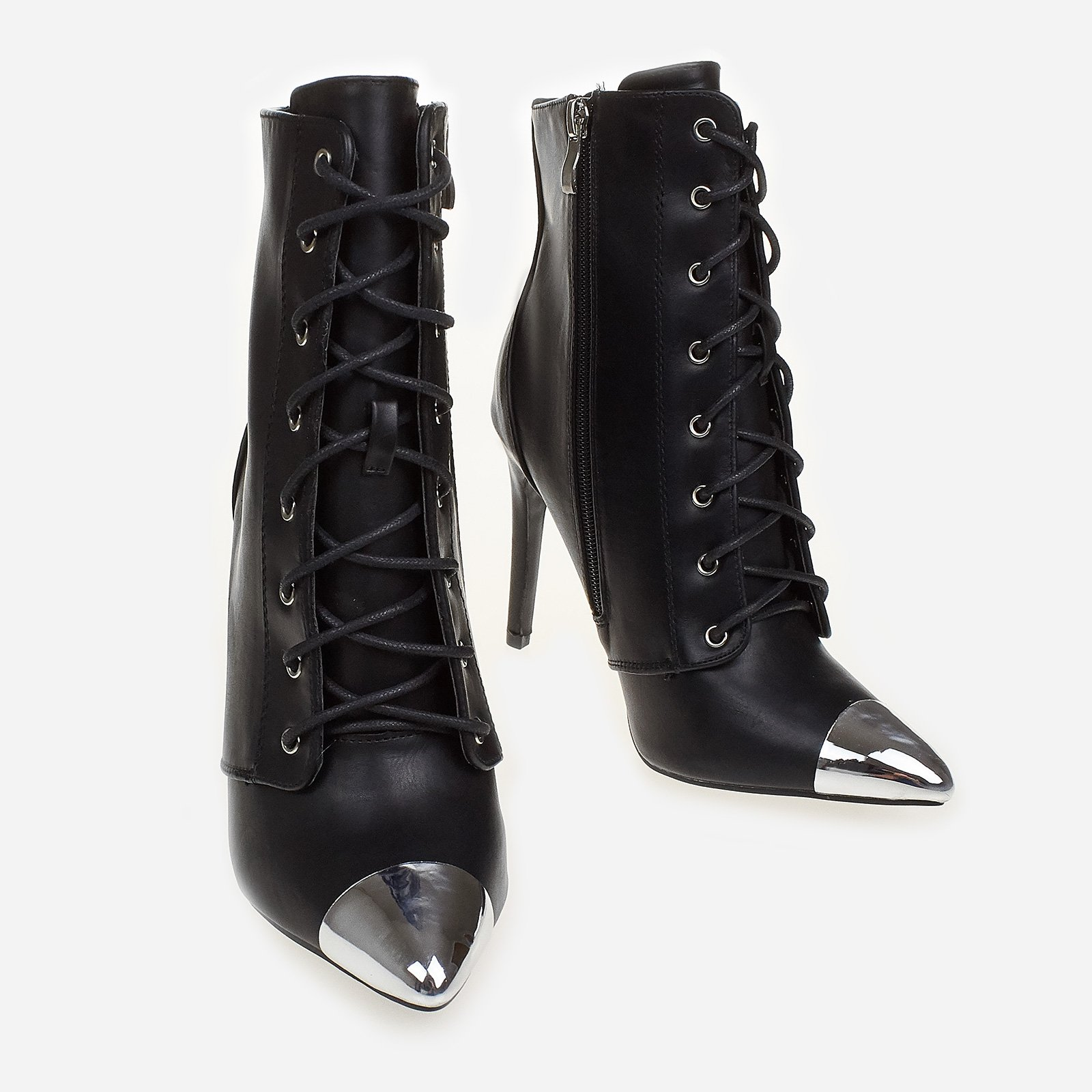 Cameron Lace Up Toe Cap Ankle Boot In Black Faux Leather