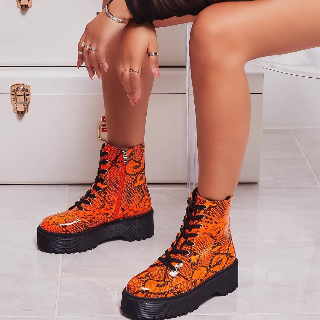 Poppin Lace Up Ankle Biker Boot In Neon Orange Snake Print Patent