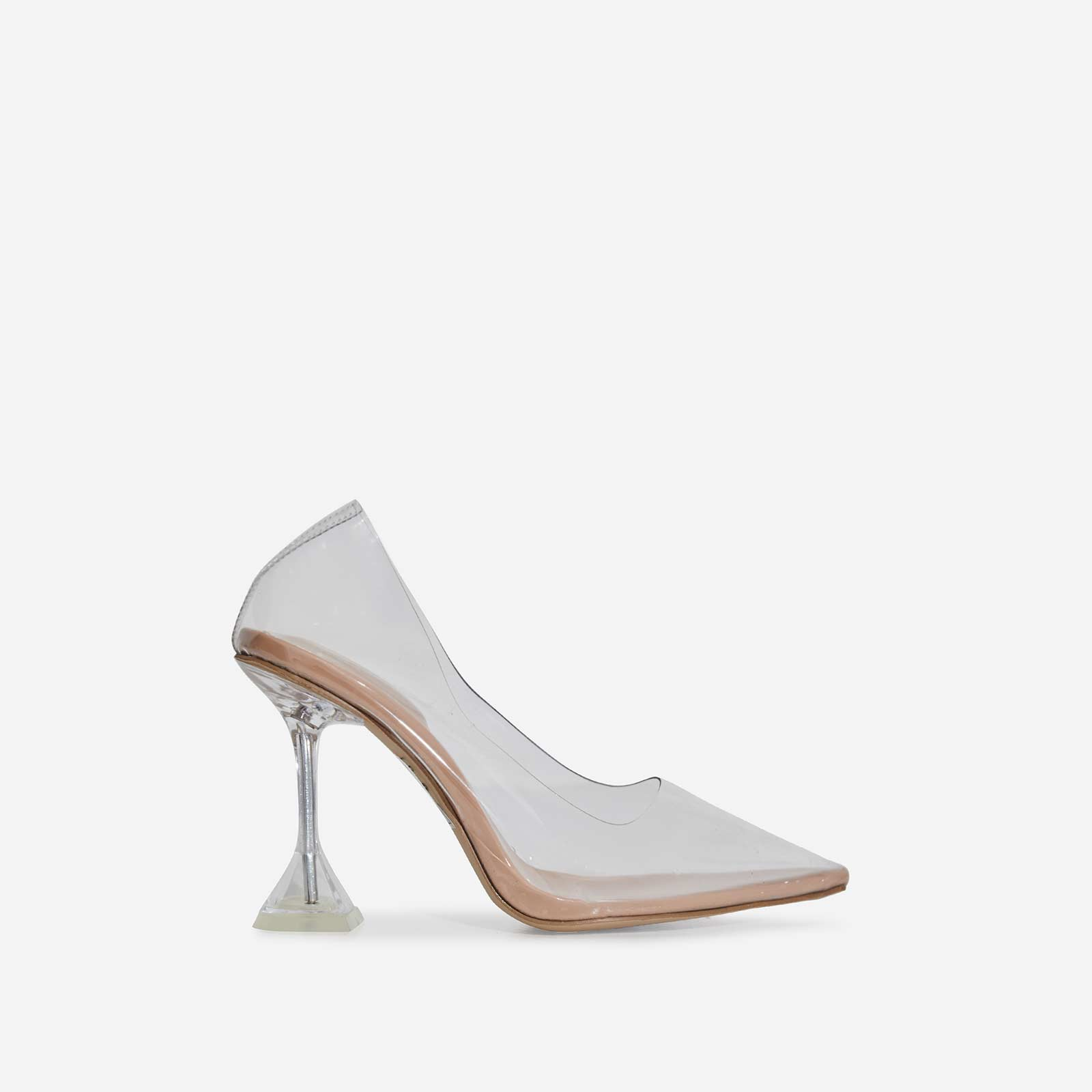 Pounce Perspex Court Heel In Nude Patent