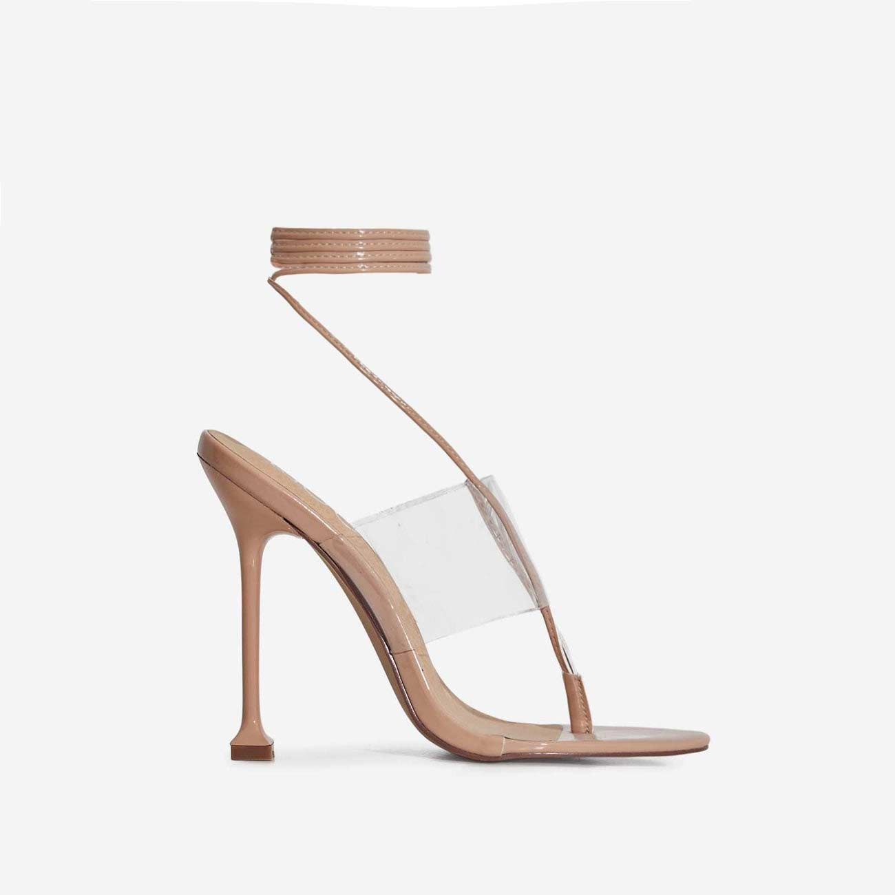 Presca Lace Up Perspex Heel In Nude Patent