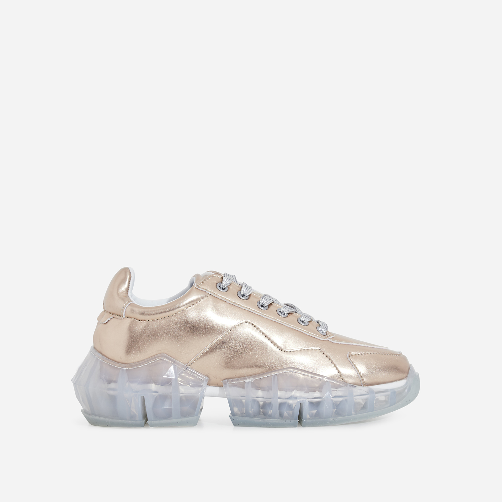 Princess Chunky Sole Trainer In Rose Gold Faux Leather