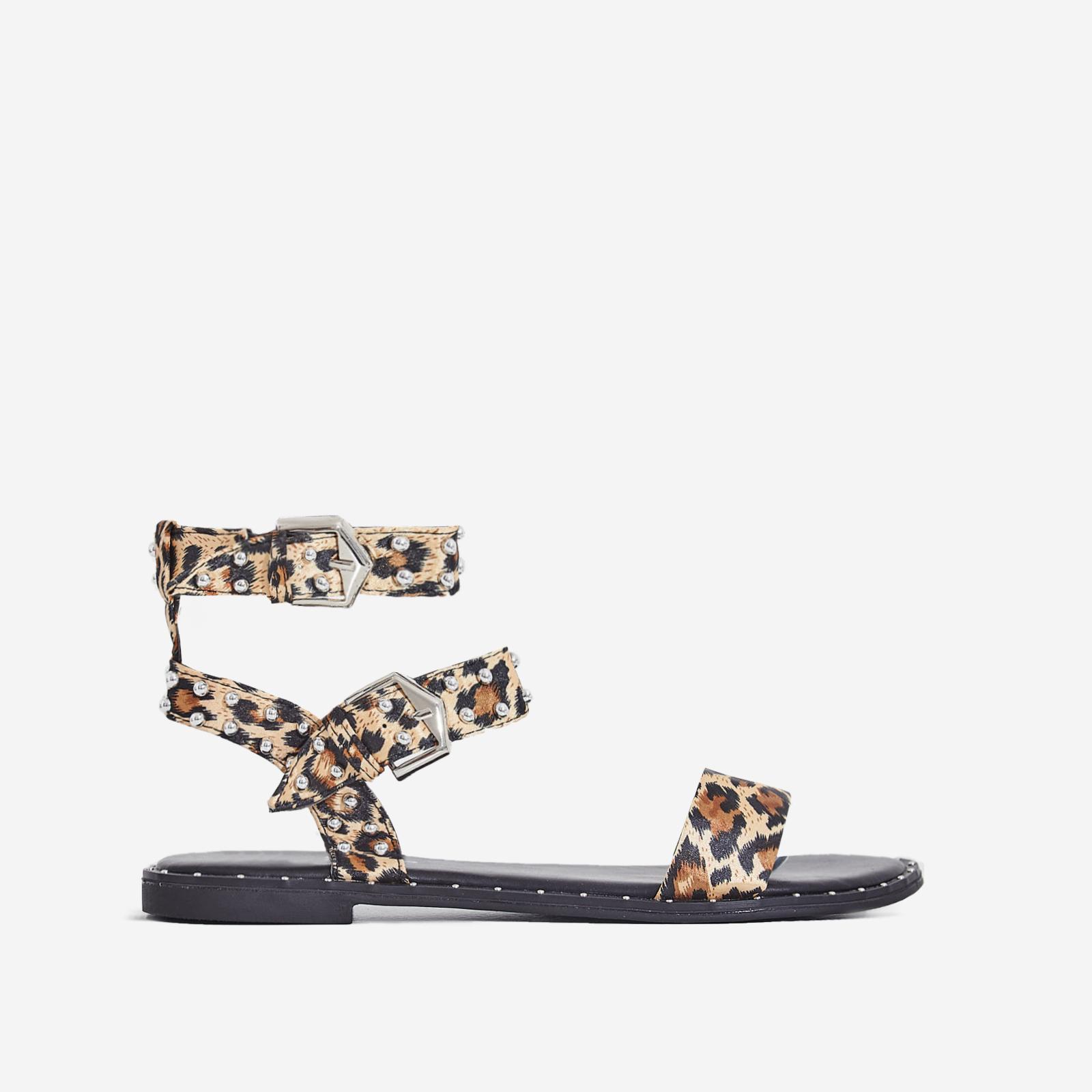 Claudia Studded Gladiator Sandal In Tan Leopard Print Satin