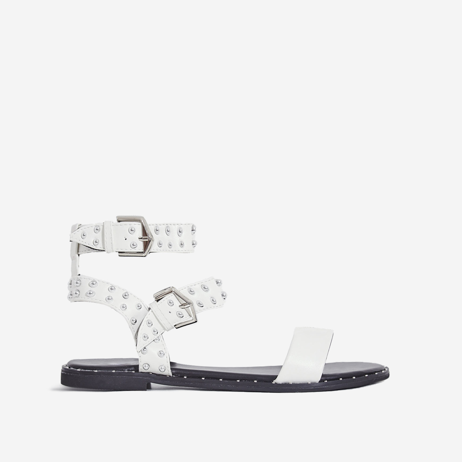 Claudia Studded Gladiator Sandal In White Faux Leather