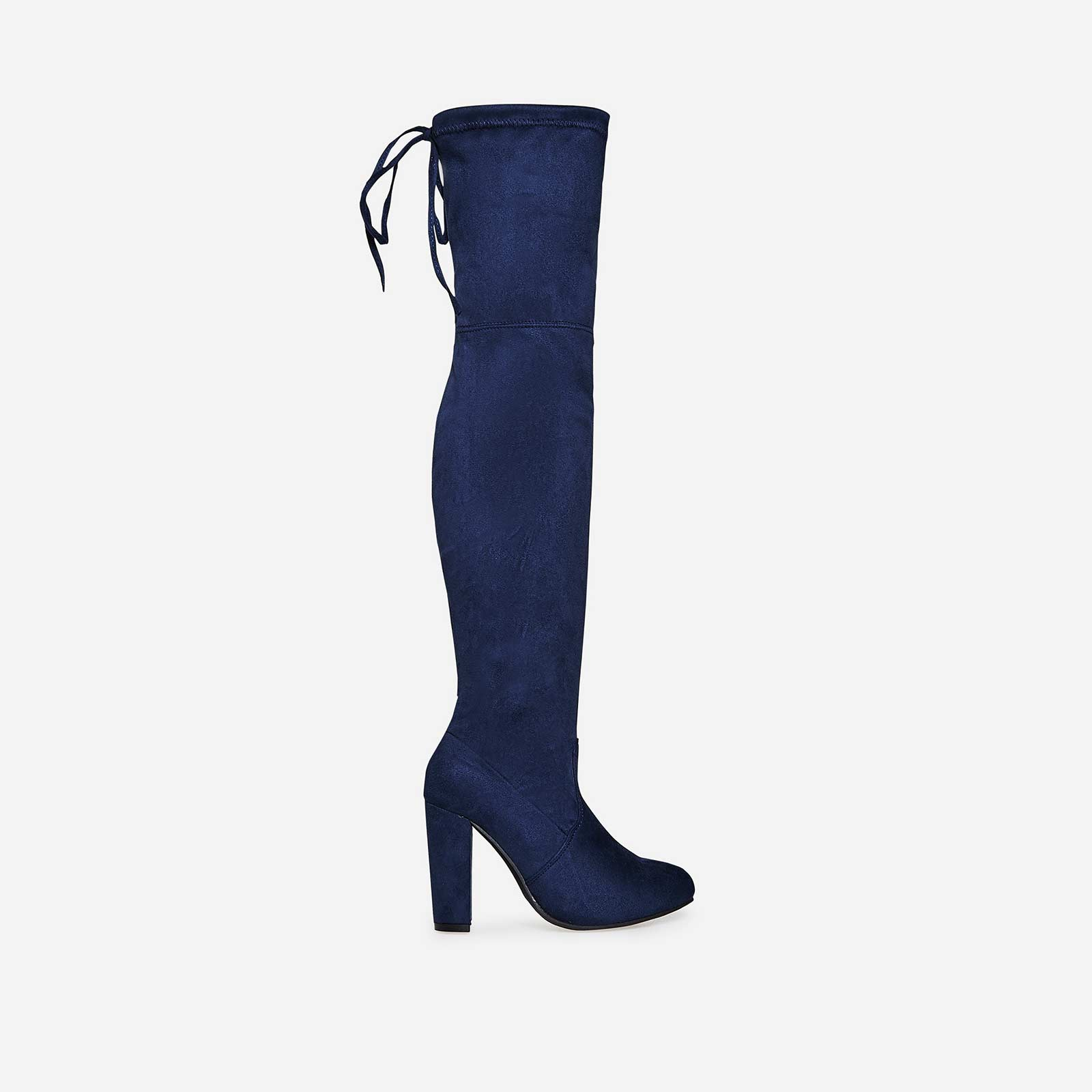 Ivy Over The Knee Long Boot In Navy Faux Suede