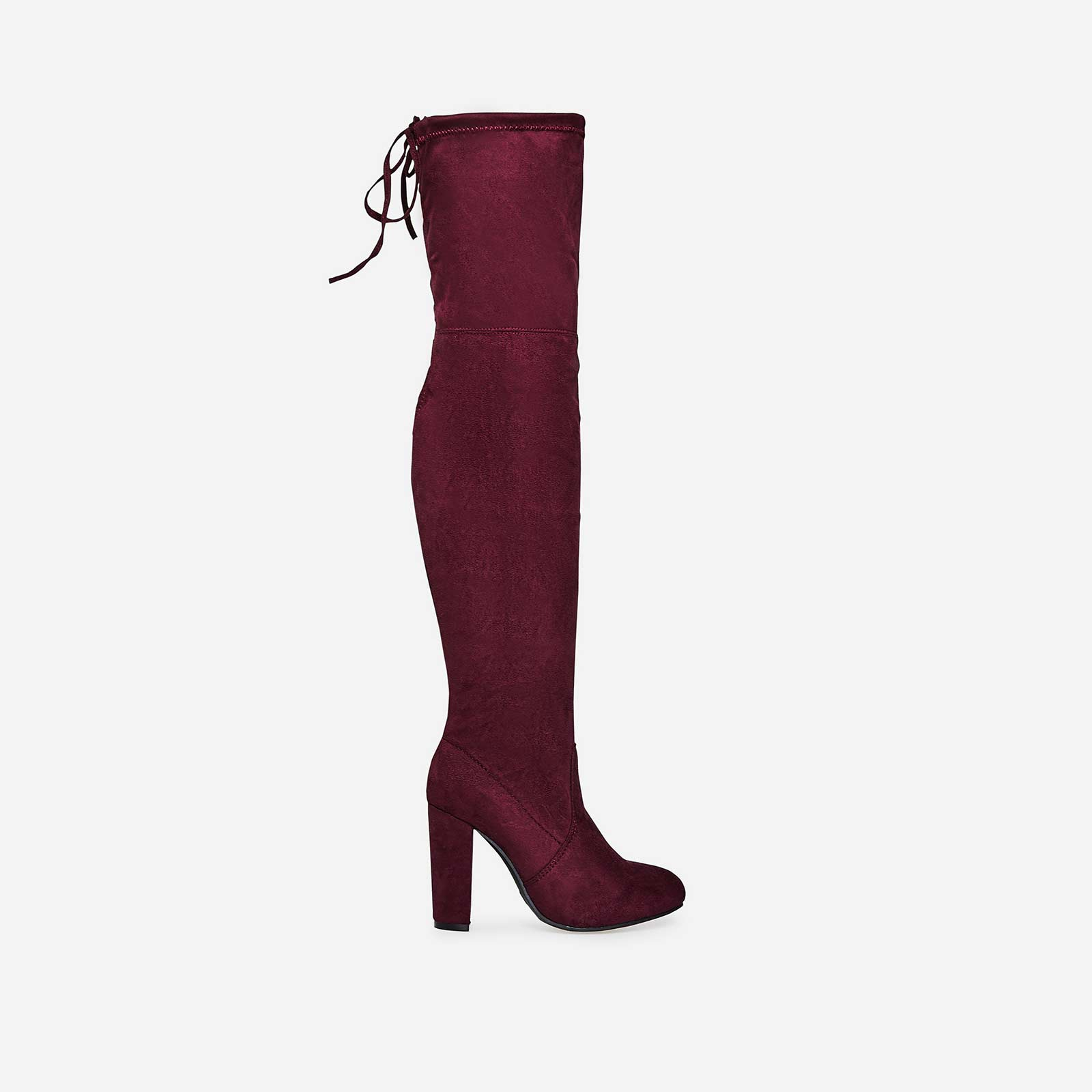 Ivy Over The Knee Long Boot In Burgundy Faux Suede