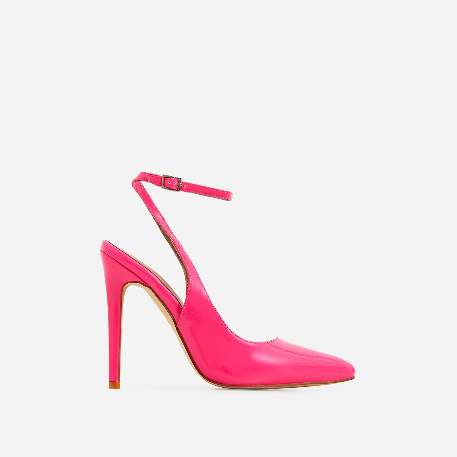 Raina Strappy Court Heel In Neon Pink Patent