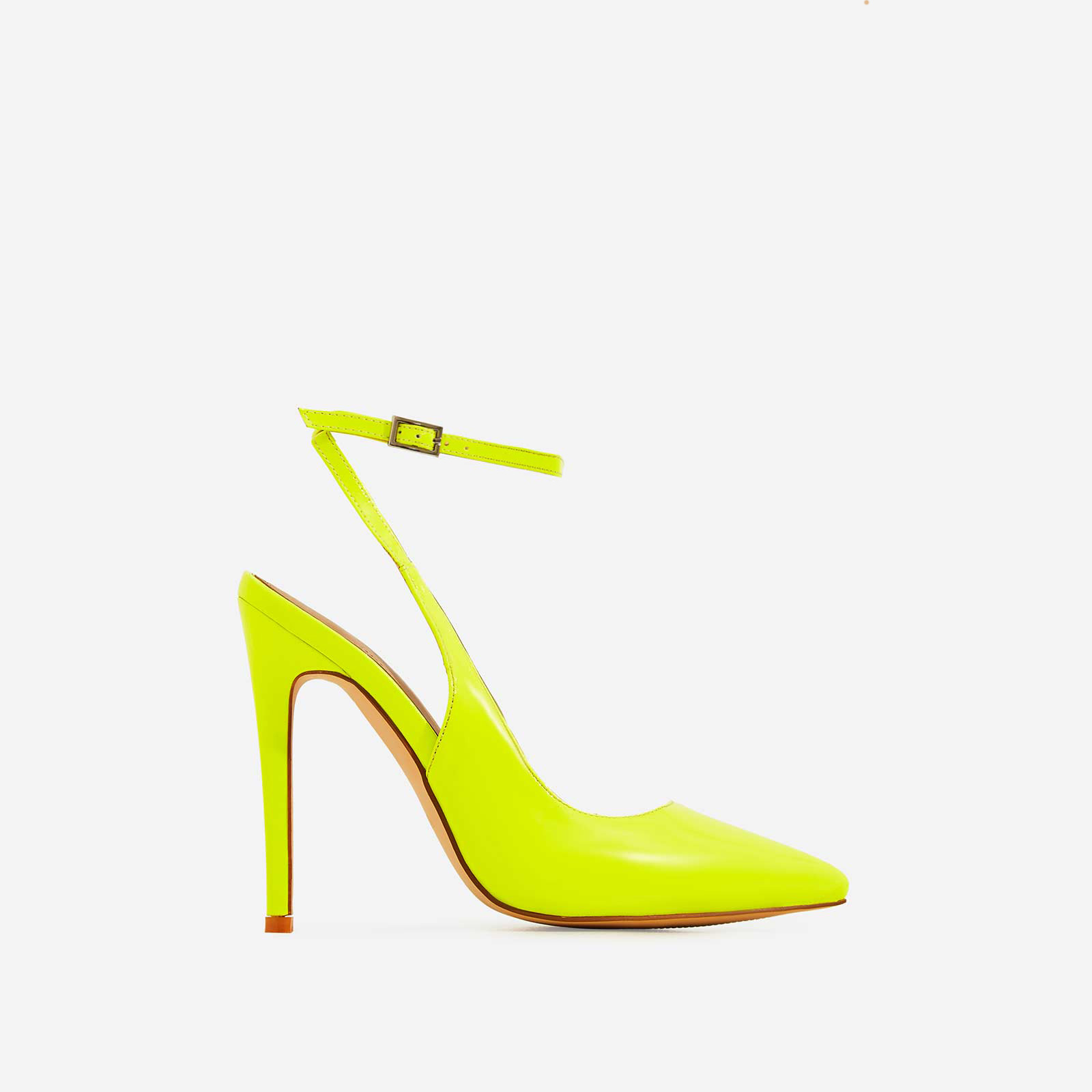 Raina Strappy Court Heel In Neon Yellow Patent