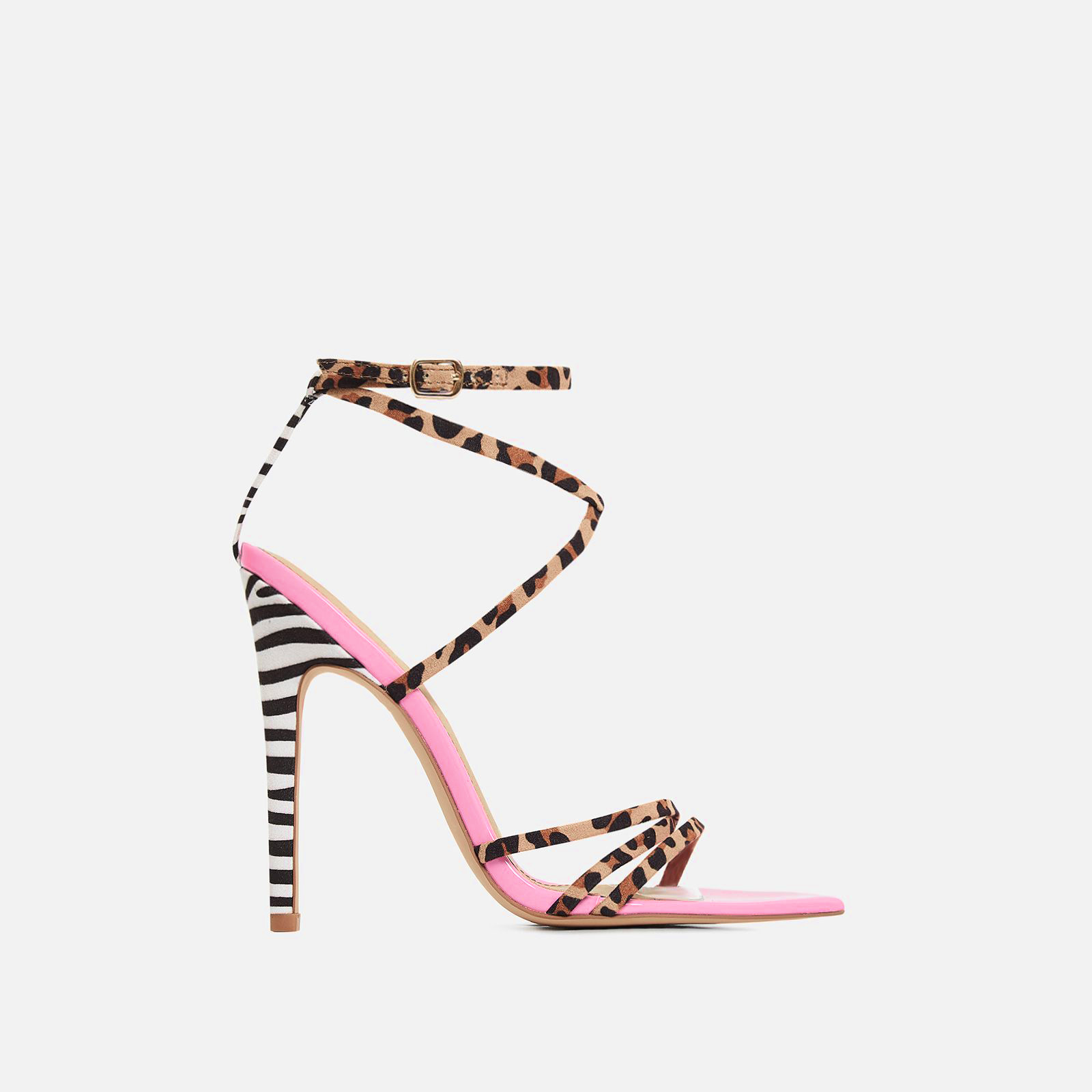 Raja Animal Print Pointed Barely There Heel In Pink Patent