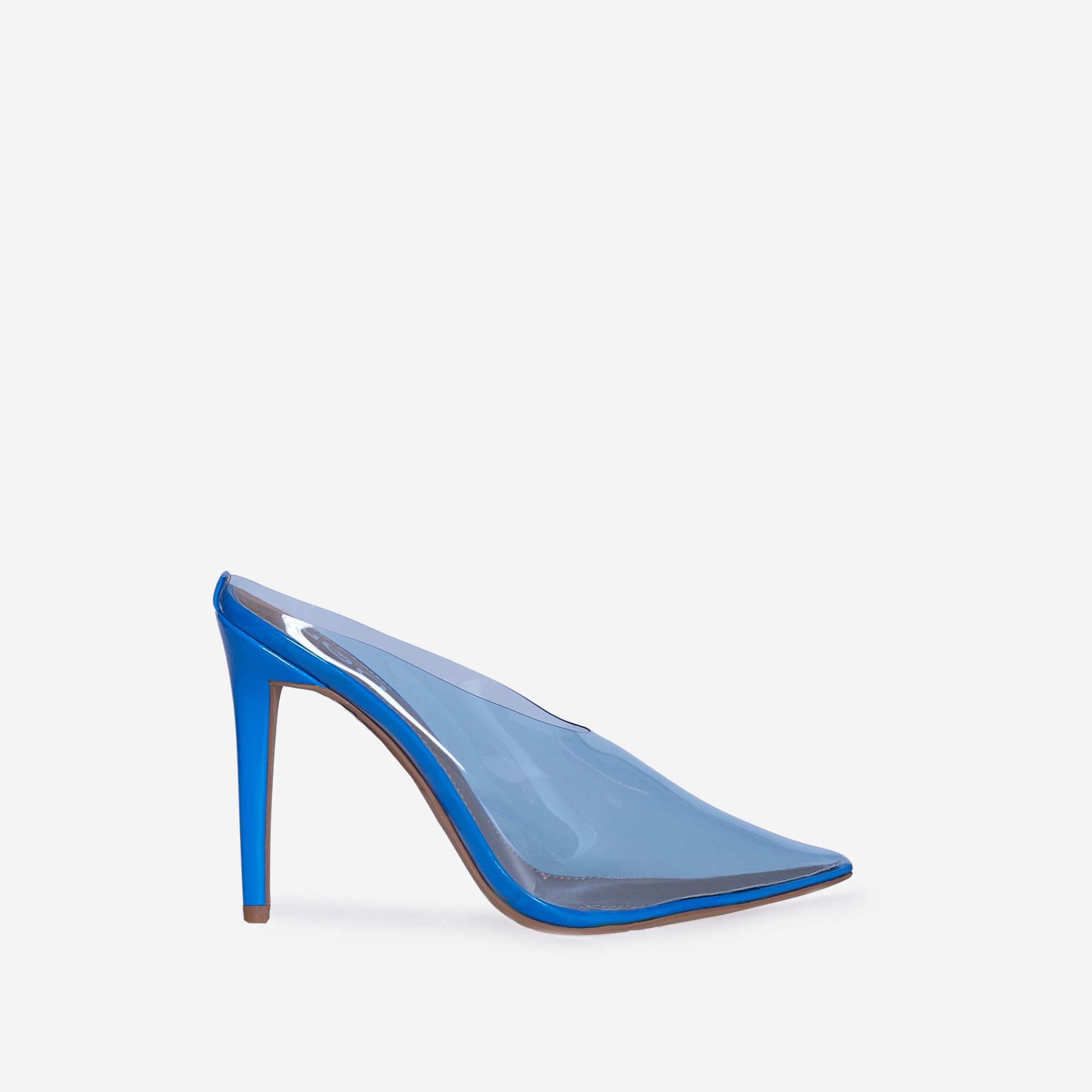 Raquel Closed Toe Perspex Mule Heel In Blue Patent