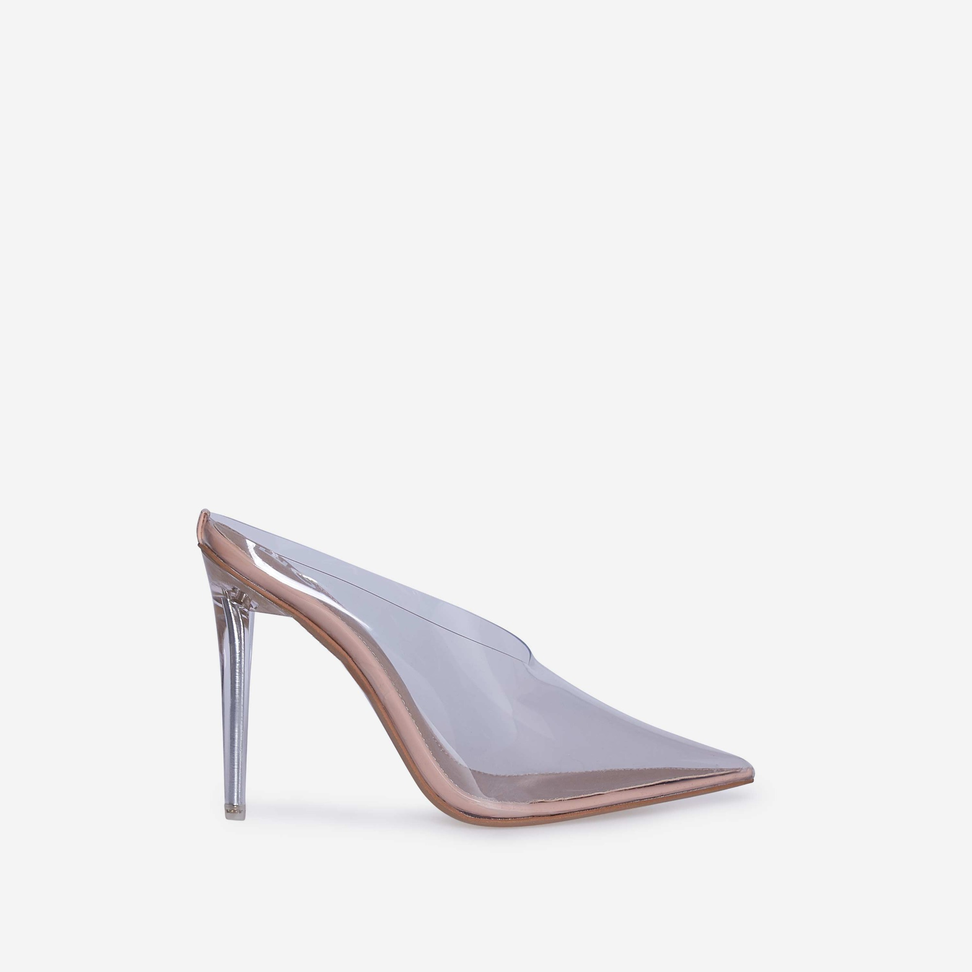 Raquel Closed Toe Perspex Mule Heel In Nude Patent