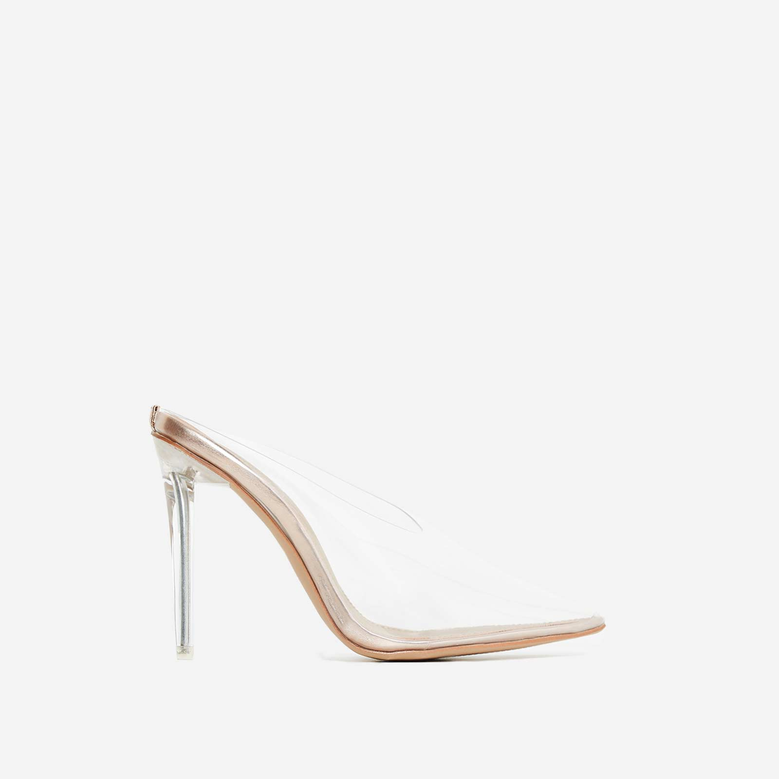 Raquel Closed Toe Perspex Mule Heel In Rose Gold Faux Leather