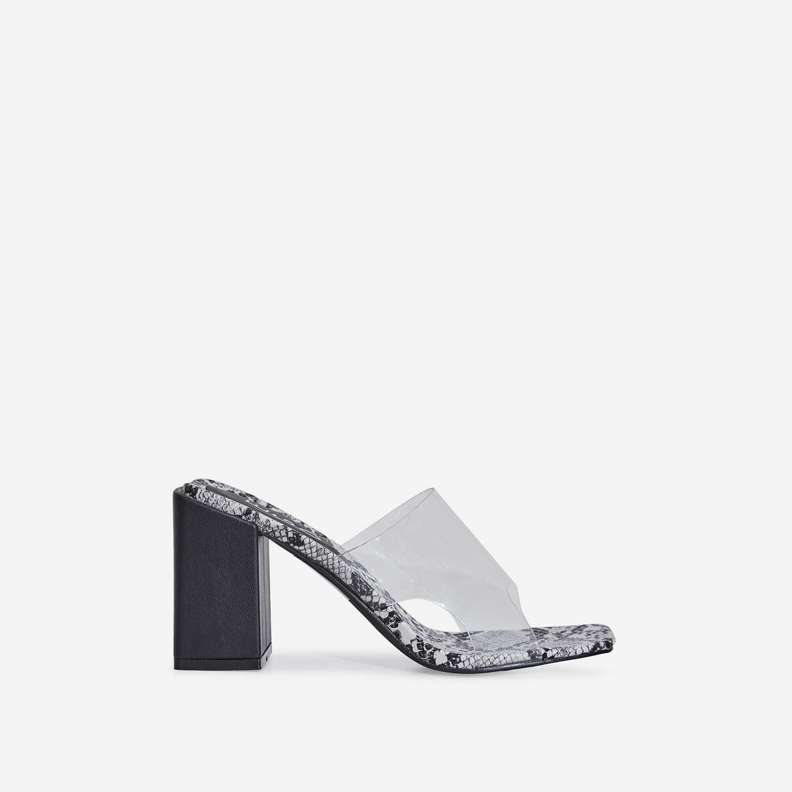 Reaction Perspex Peep Toe Midi Block Heel Black Snake Print Faux Leather