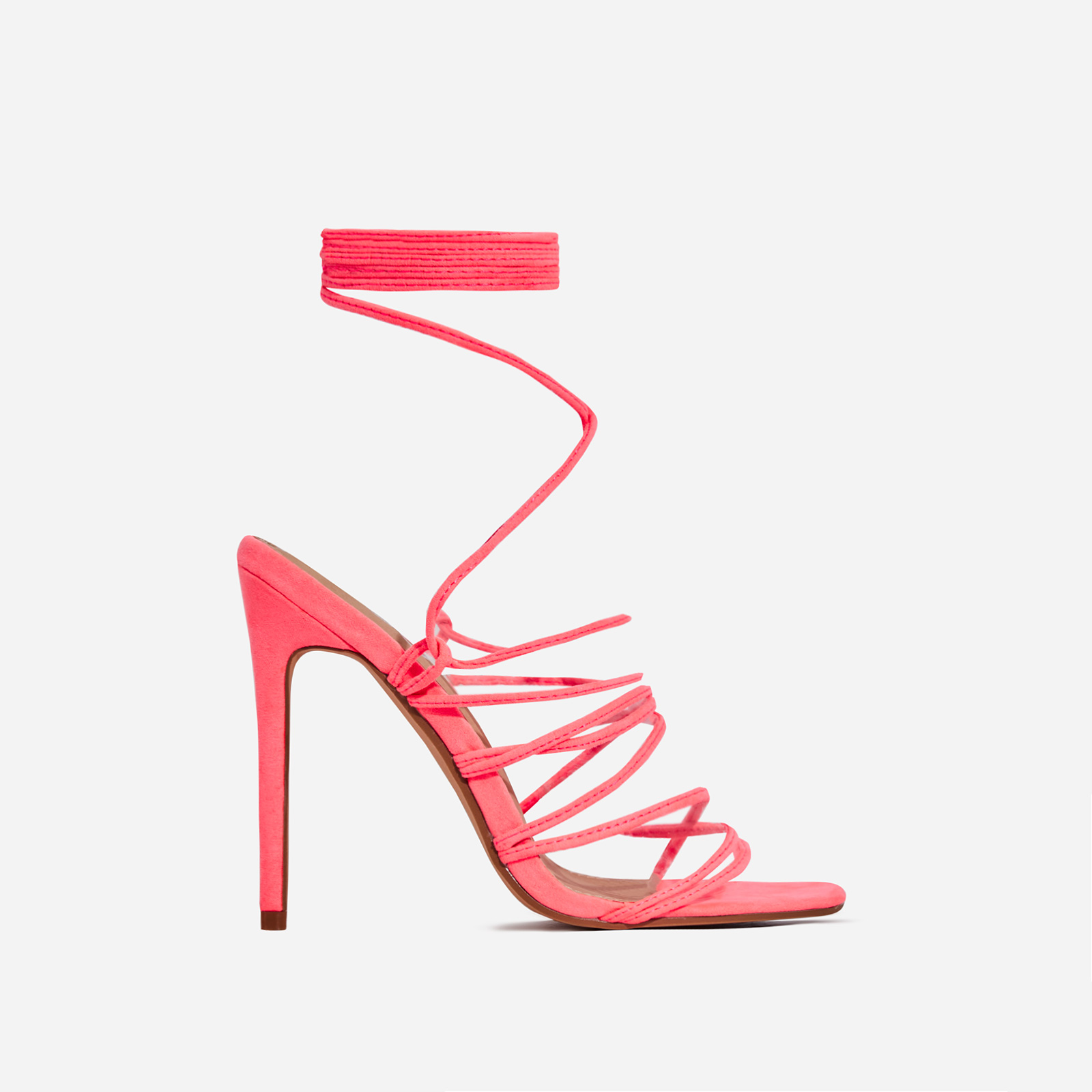 Revel Lace Up Square Toe Heel In Neon Pink Faux Suede