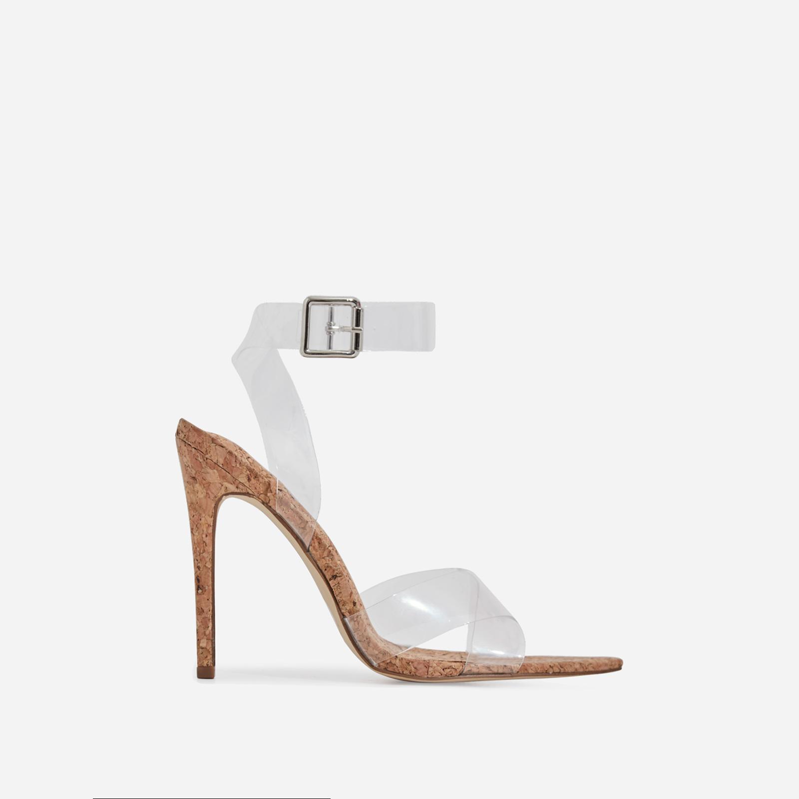 Reya Perspex Detail Elasticated Pointed Toe Heel In Cork