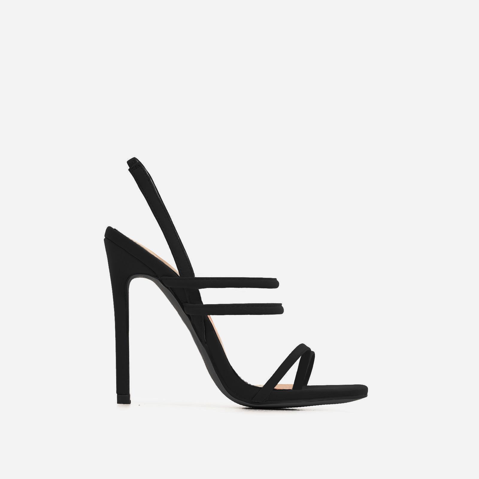 Rhia Strappy Toe Post Heel In Black Lycra