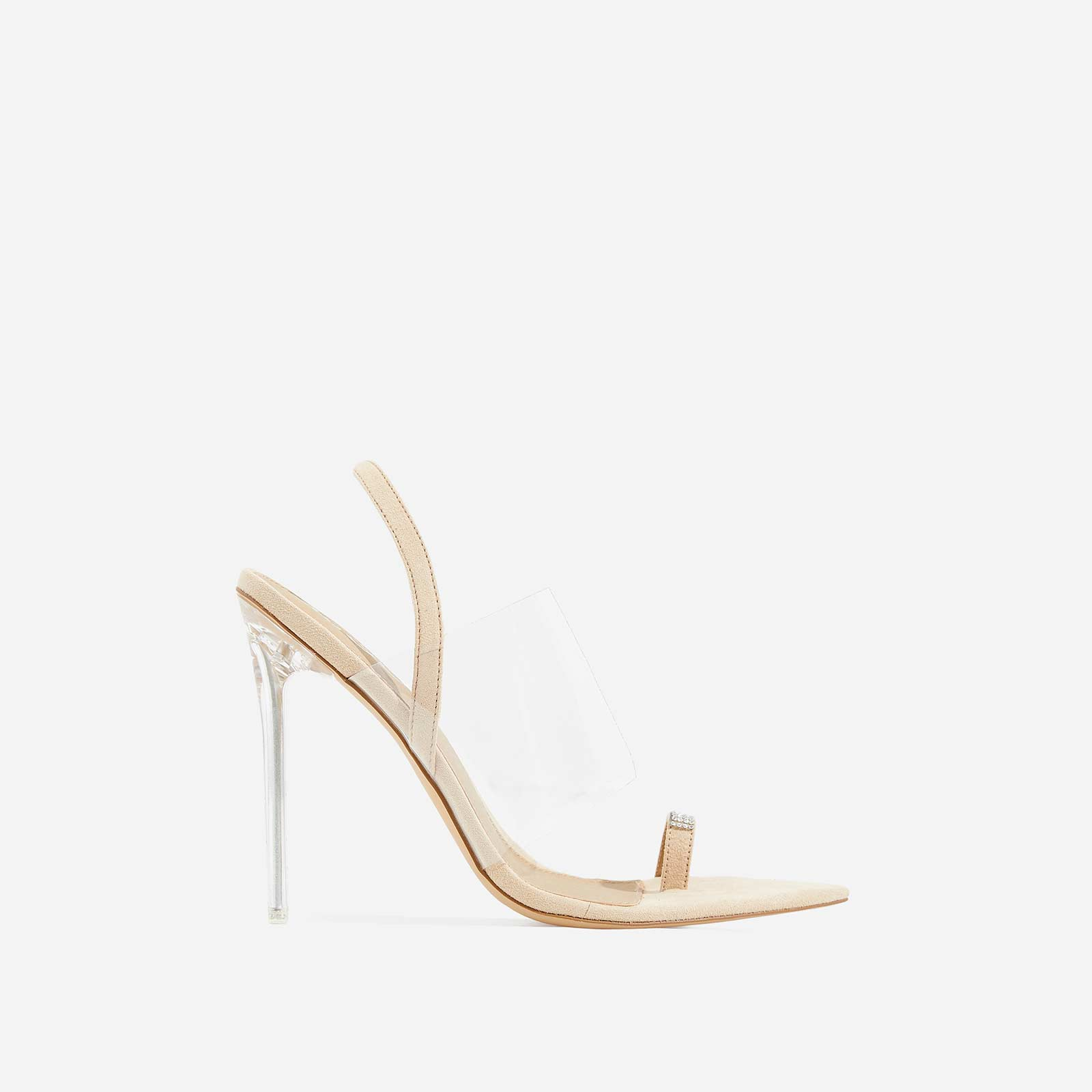 Rina Dimante Pointed Perspex Heel In Nude Faux Suede