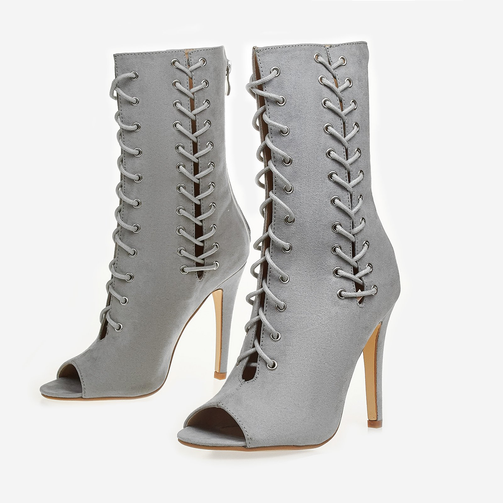 Addicted Lace Up Peep Toe Ankle Boot In Grey