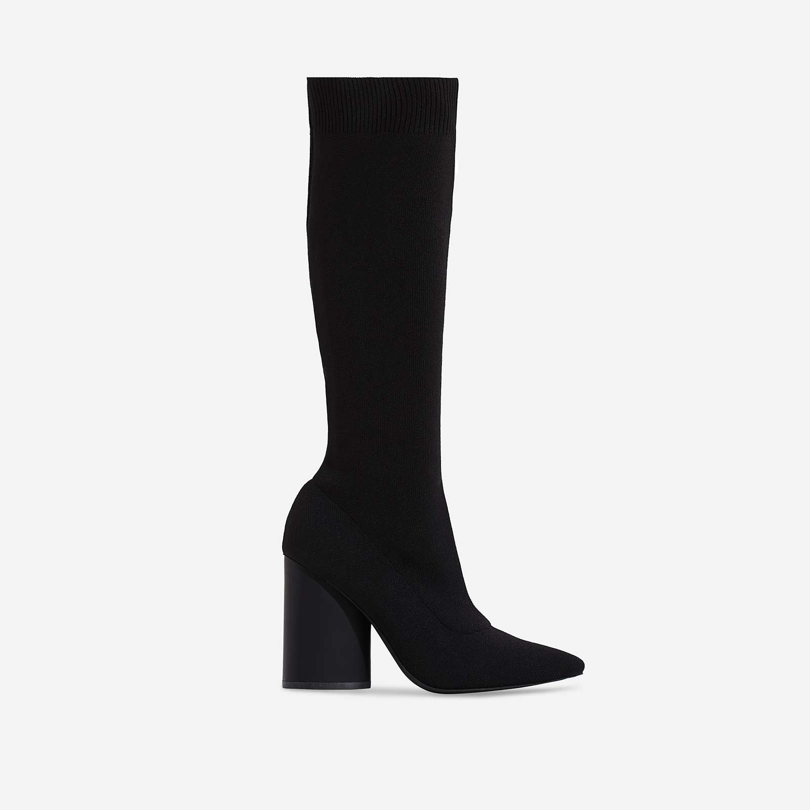Rocco Block Heel Ankle Sock Boot In Black Knit